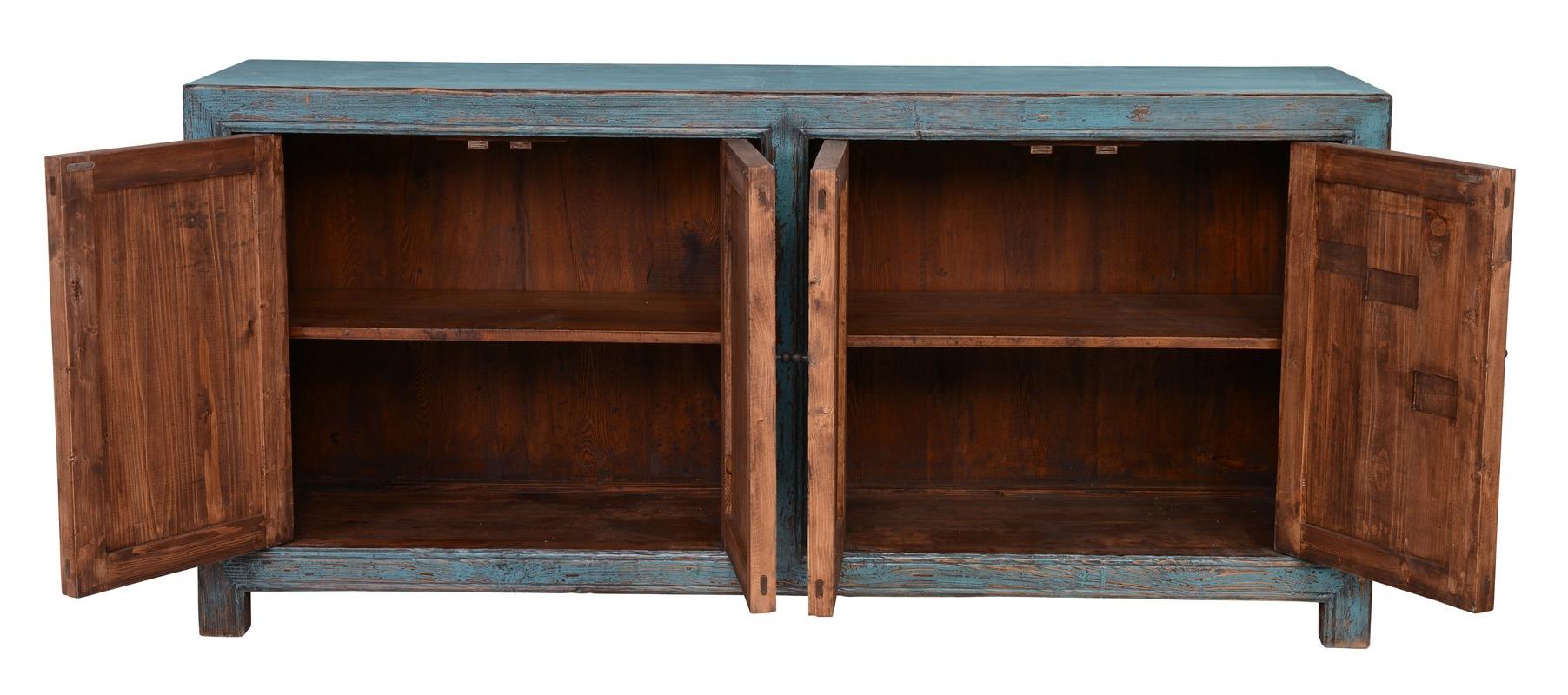 Latest August Grove Mahoning Reclaimed Pine 4 Door Sideboard & Reviews With Regard To Reclaimed Pine Turquoise 4 Door Sideboards (Gallery 5 of 20)