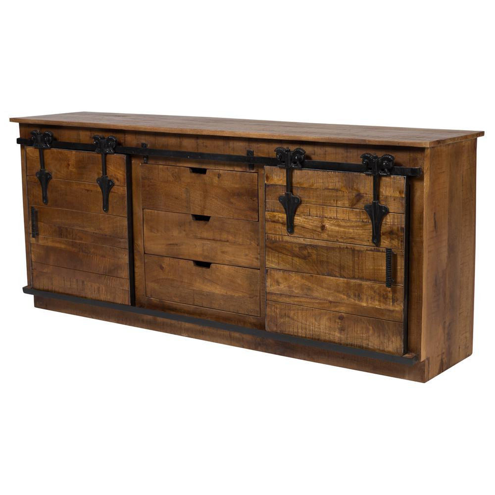 Latest Barn Door Transitional Sliding Door Sideboard In Mango Wood And Cast Intended For Iron Sideboards (View 11 of 20)