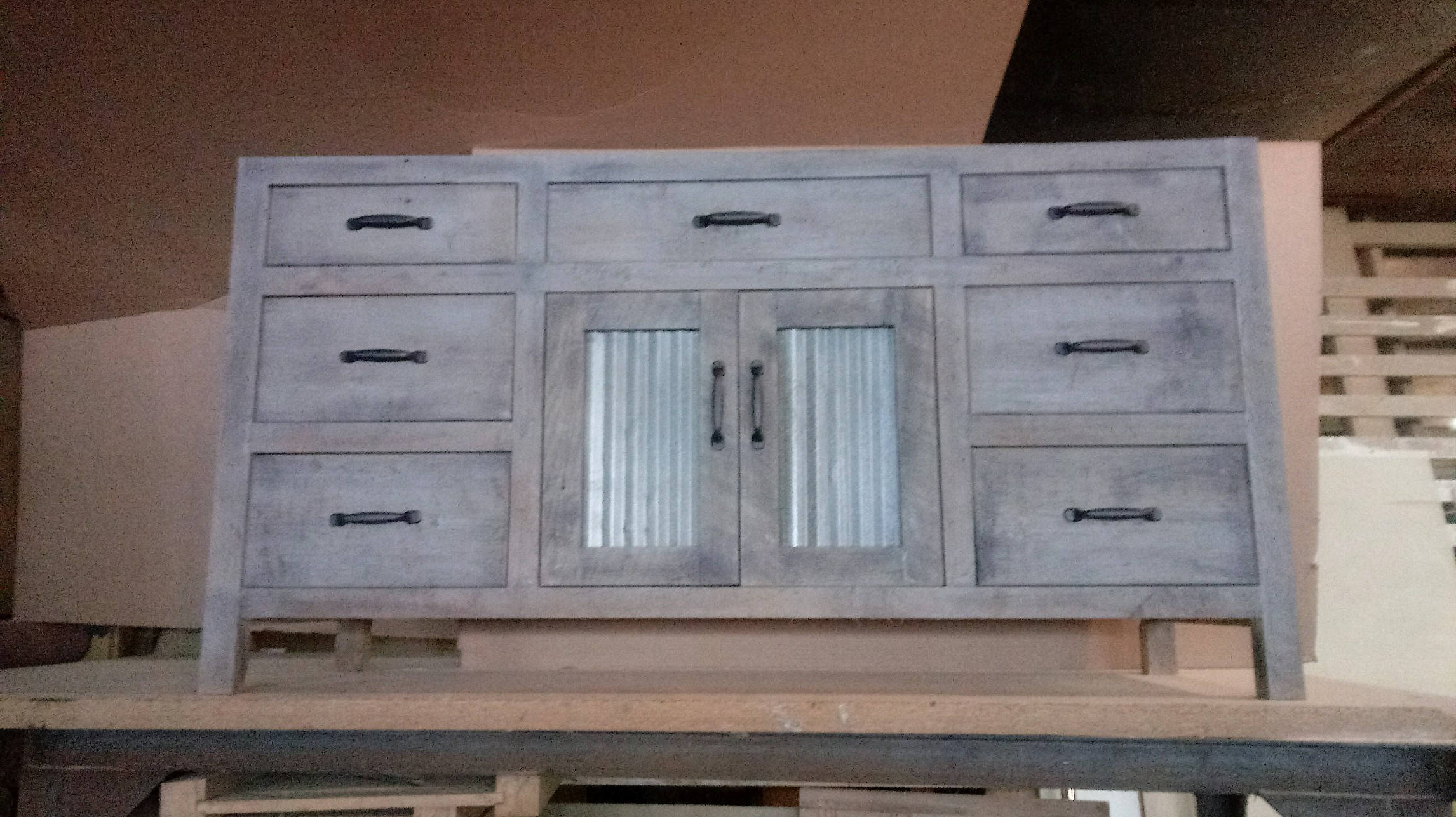 Latest Bartley Rustic Gray Vanity With Reclaimed Metal Inserts Intended For Corrugated Natural 6 Door Sideboards (View 11 of 20)