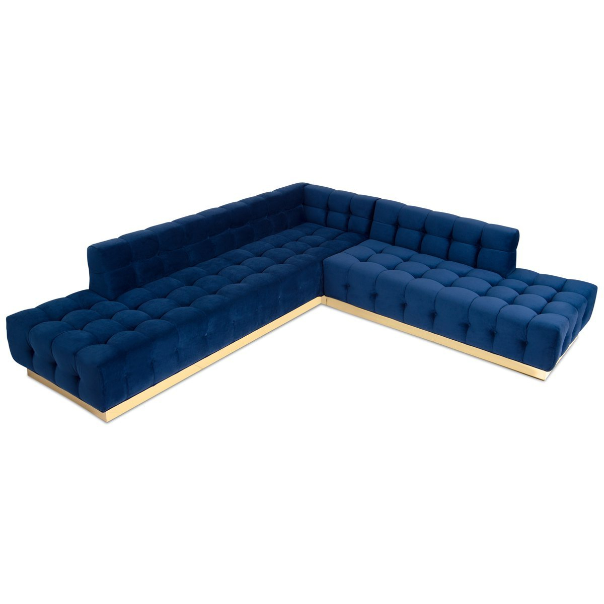 Latest Beautiful Delano Chaise Sectional Shiny Brass Velvet Navy Front In Delano 2 Piece Sectionals With Raf Oversized Chaise (View 15 of 20)