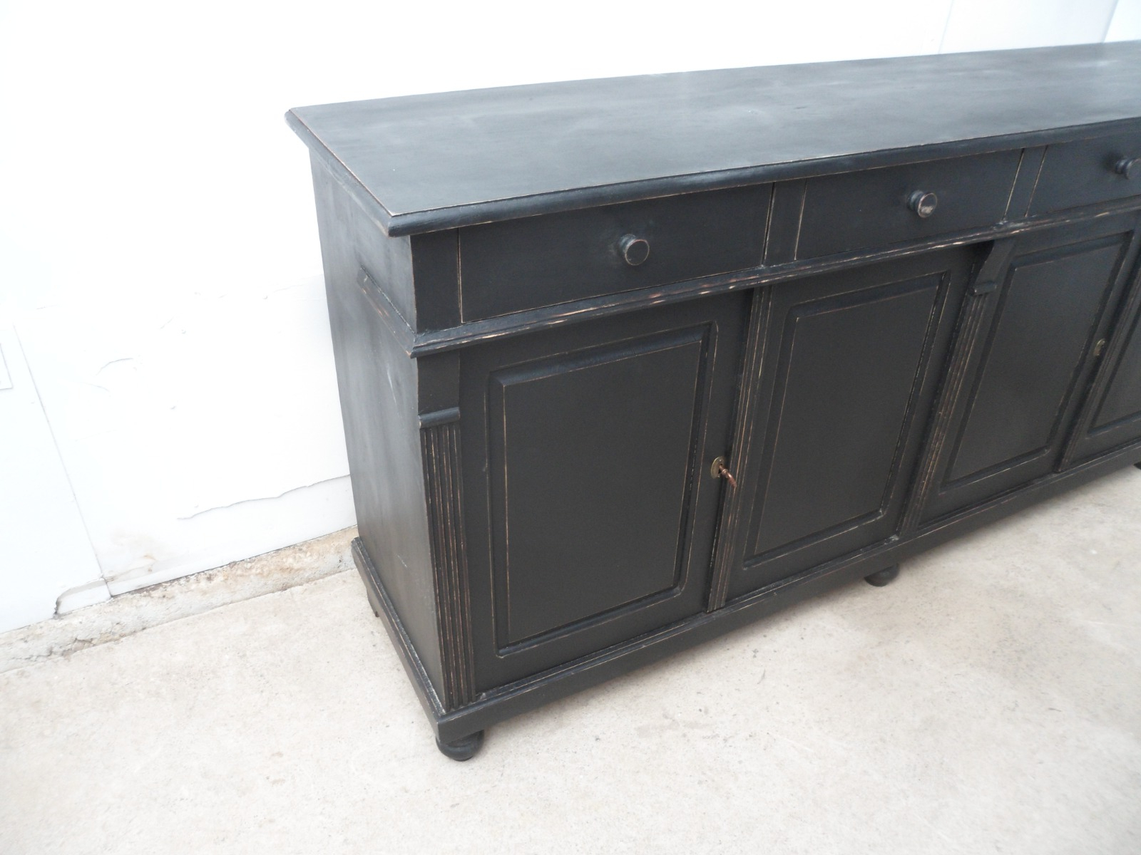 Latest Beautifully Painted Black Pine 4 Door Kitchen Dresser Base Sideboard Intended For Iron Pine Sideboards (View 9 of 20)