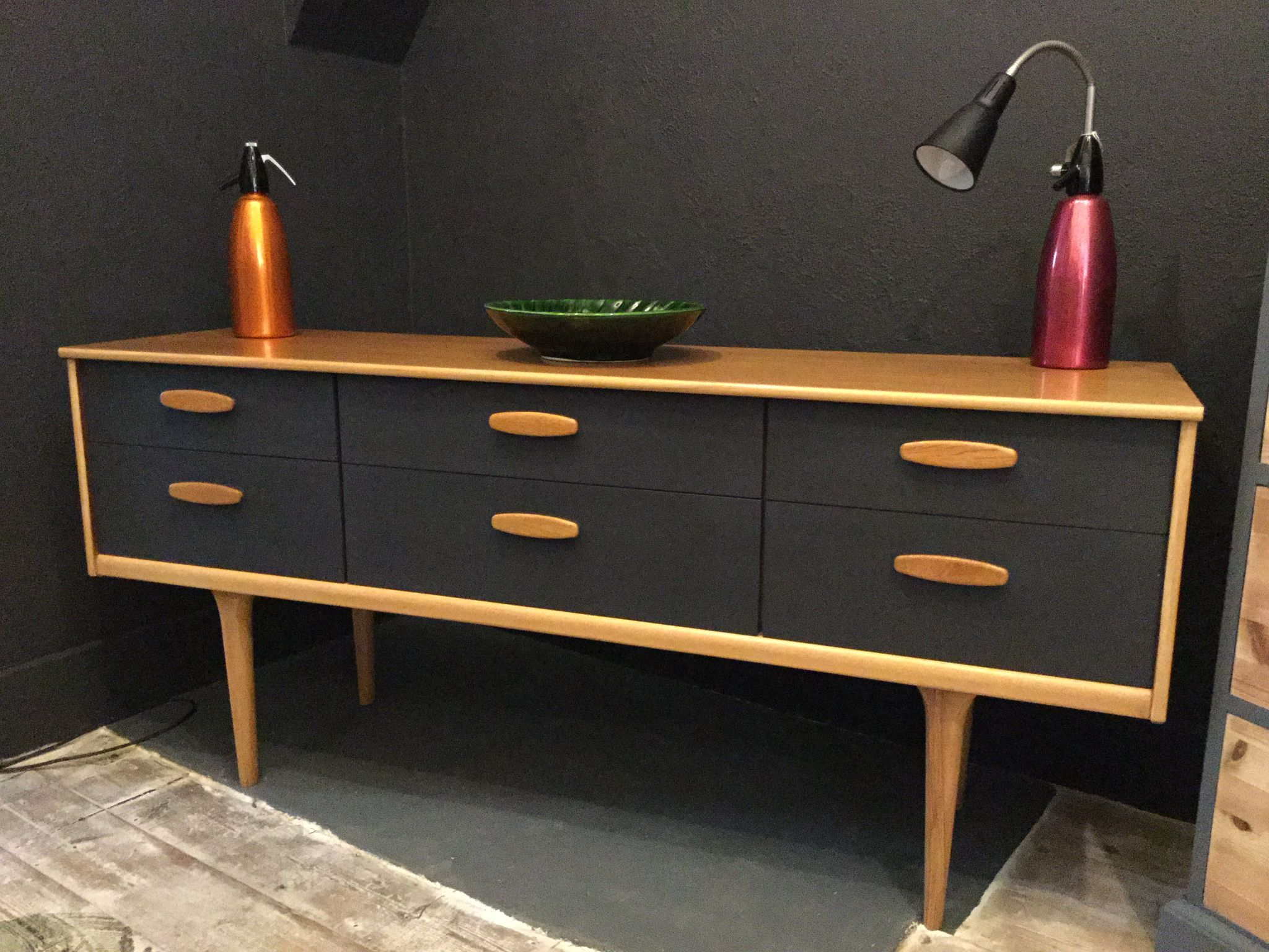 Latest Danish Style Retro Sideboard Painted In Graphiteautentico Paint Within Vintage 8 Glass Sideboards (Gallery 11 of 20)