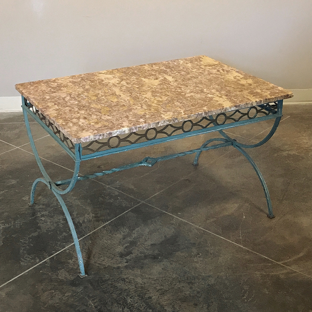 Latest Iron Marble Coffee Tables Intended For Antique Country French Wrought Iron Marble Top Coffee Table – Inessa (View 10 of 20)