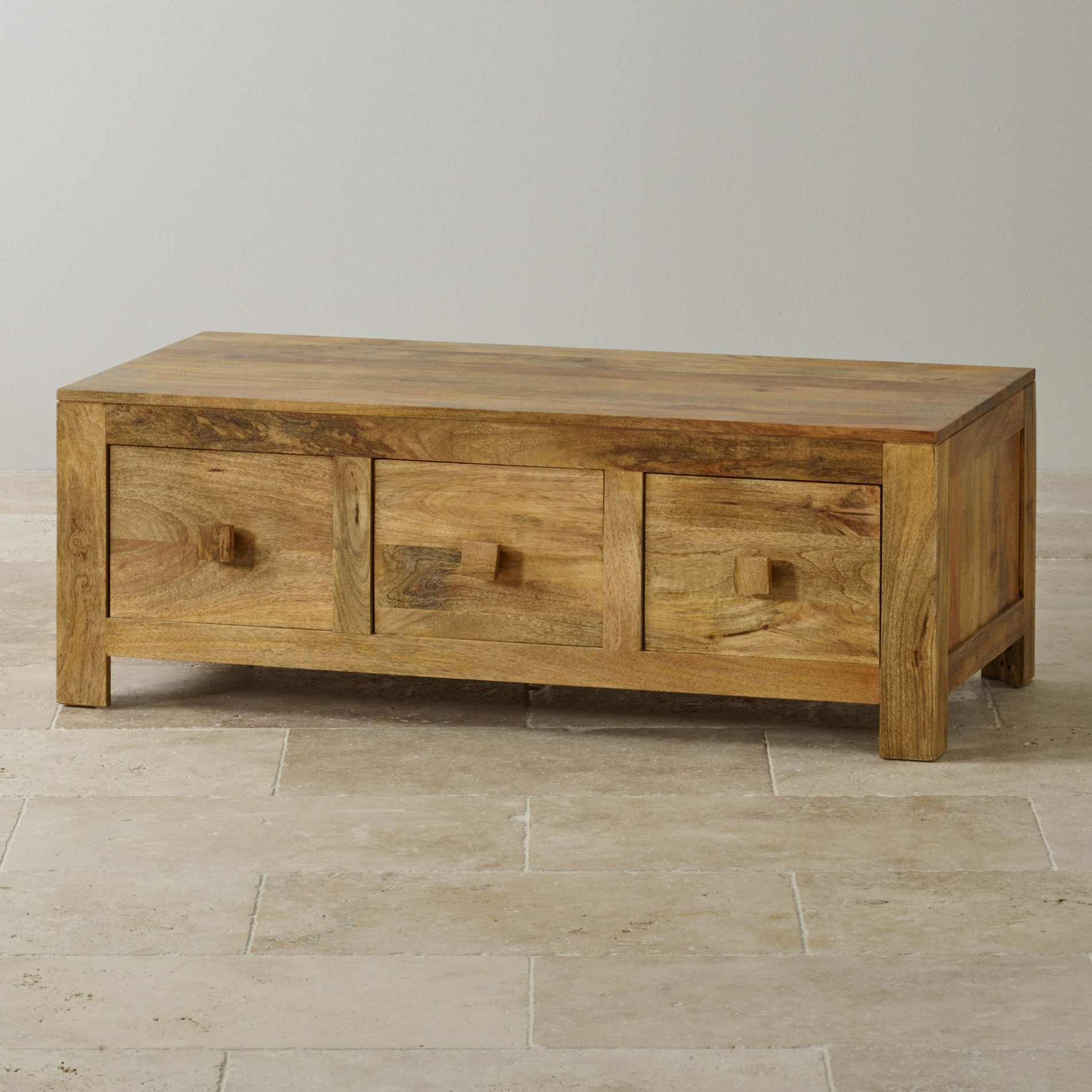 Latest Light Natural Coffee Tables In Mantis Light Natural Solid Mango 6 Drawer Storage Coffee Table (View 8 of 20)