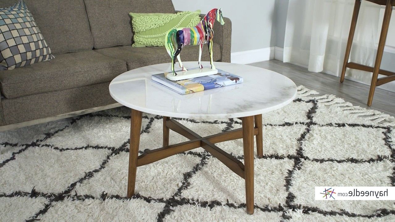 Latest Mid Century Modern Marble Coffee Tables For Belham Living James Round Mid Century Modern Marble Coffee Table (View 8 of 20)
