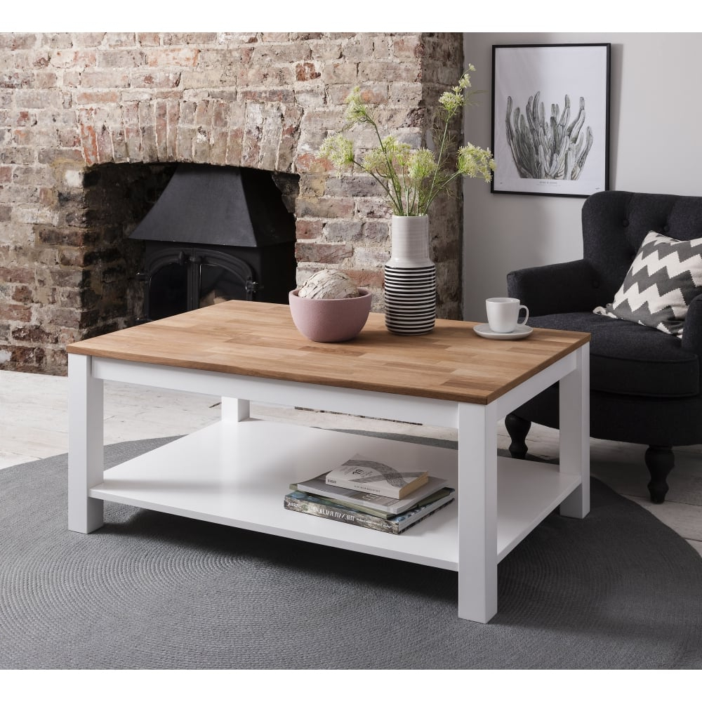 Latest Natural Pine Coffee Tables Inside Hever Coffee Table In White And Natural Pine – For Mum & Dad From (View 2 of 20)