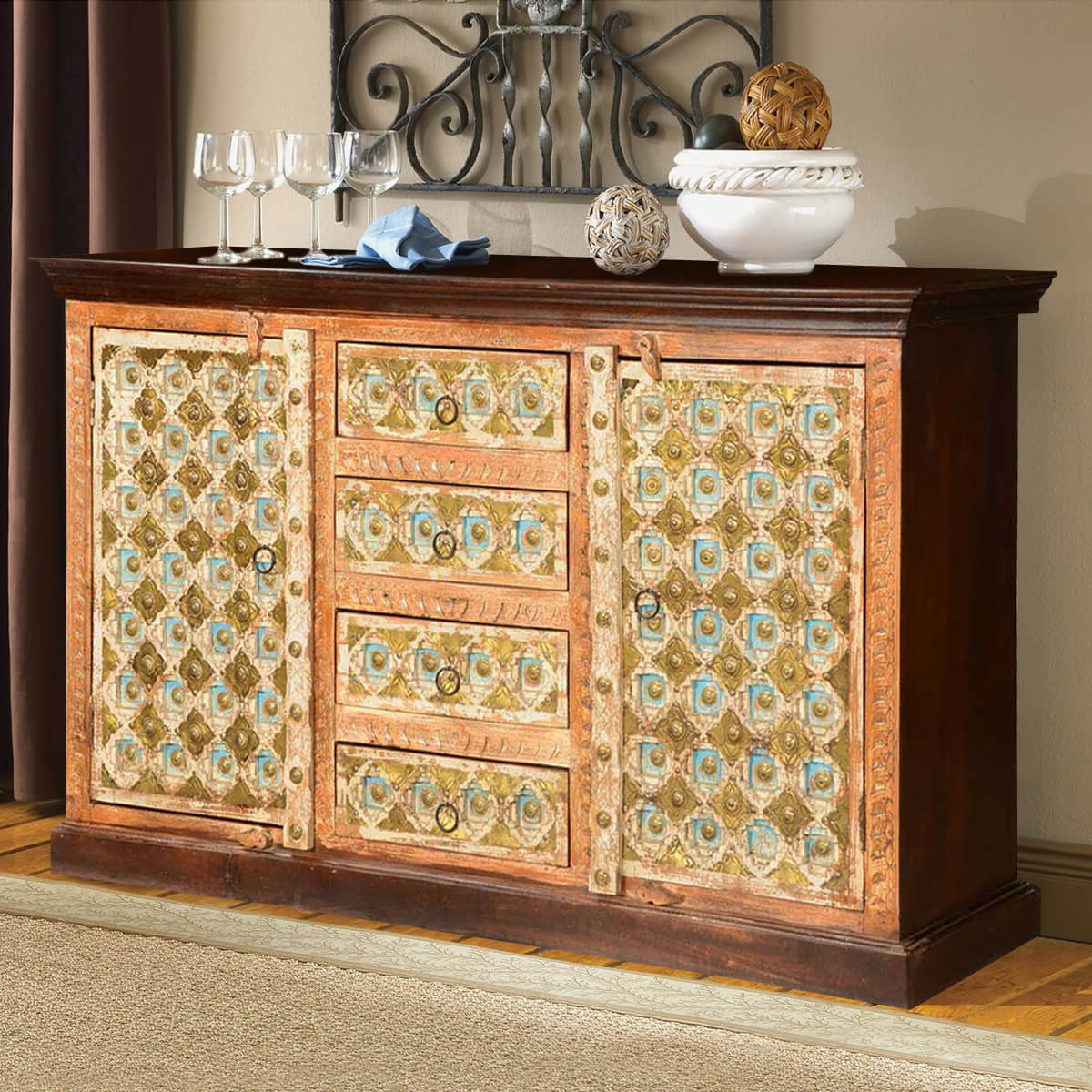 Latest Open Shelf Brass 4 Drawer Sideboards For Turkish Handcrafted Brass Inlay Mango Wood 4 Drawer Sideboard Cabinet (View 4 of 20)