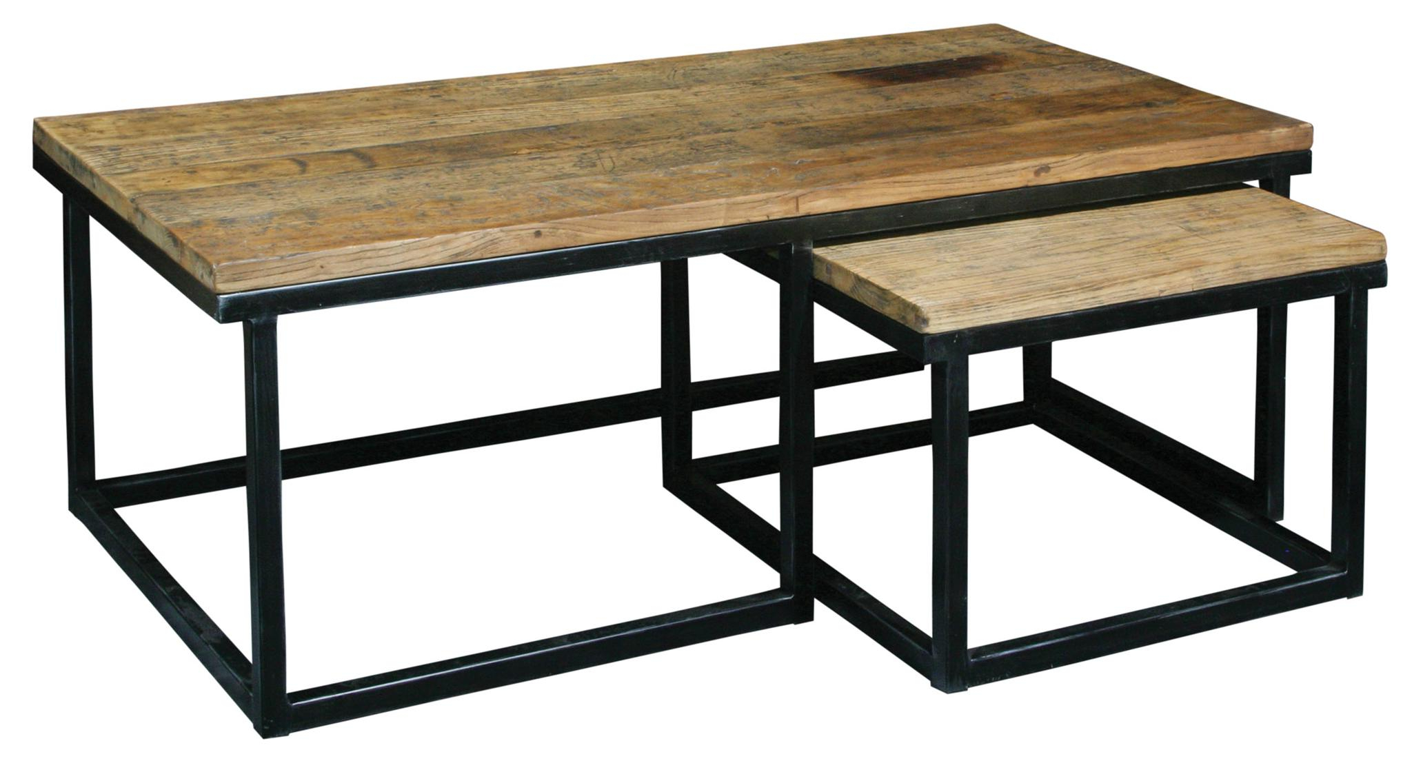 Latest Reclaimed Elm Cast Iron Coffee Tables Regarding Wood And Black Metal Coffee Table (View 9 of 20)