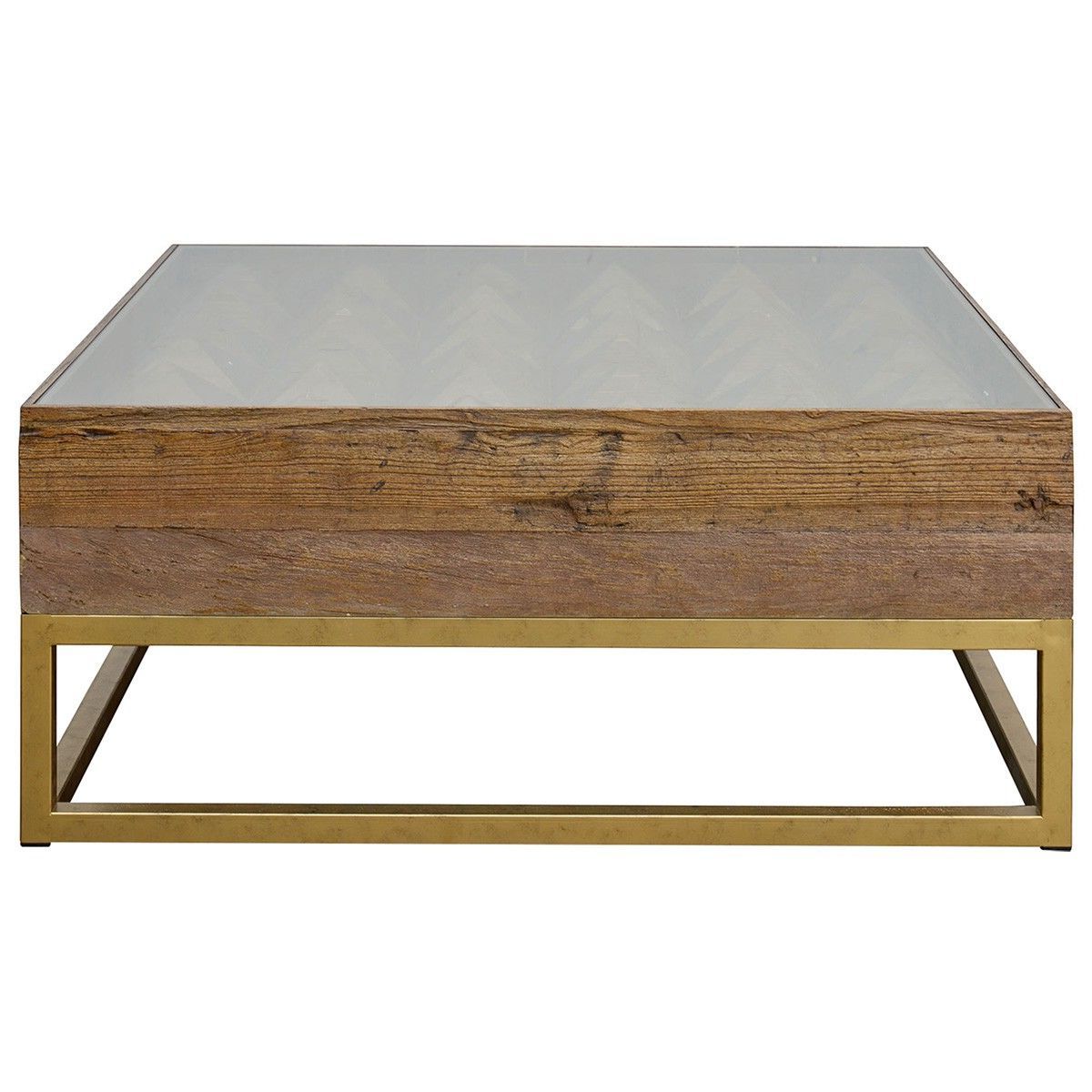 Latest Reclaimed Elm Iron Coffee Tables Throughout Teddy Reclaimed Elm Timber & Iron Square Coffee Table, 100Cm (View 9 of 20)