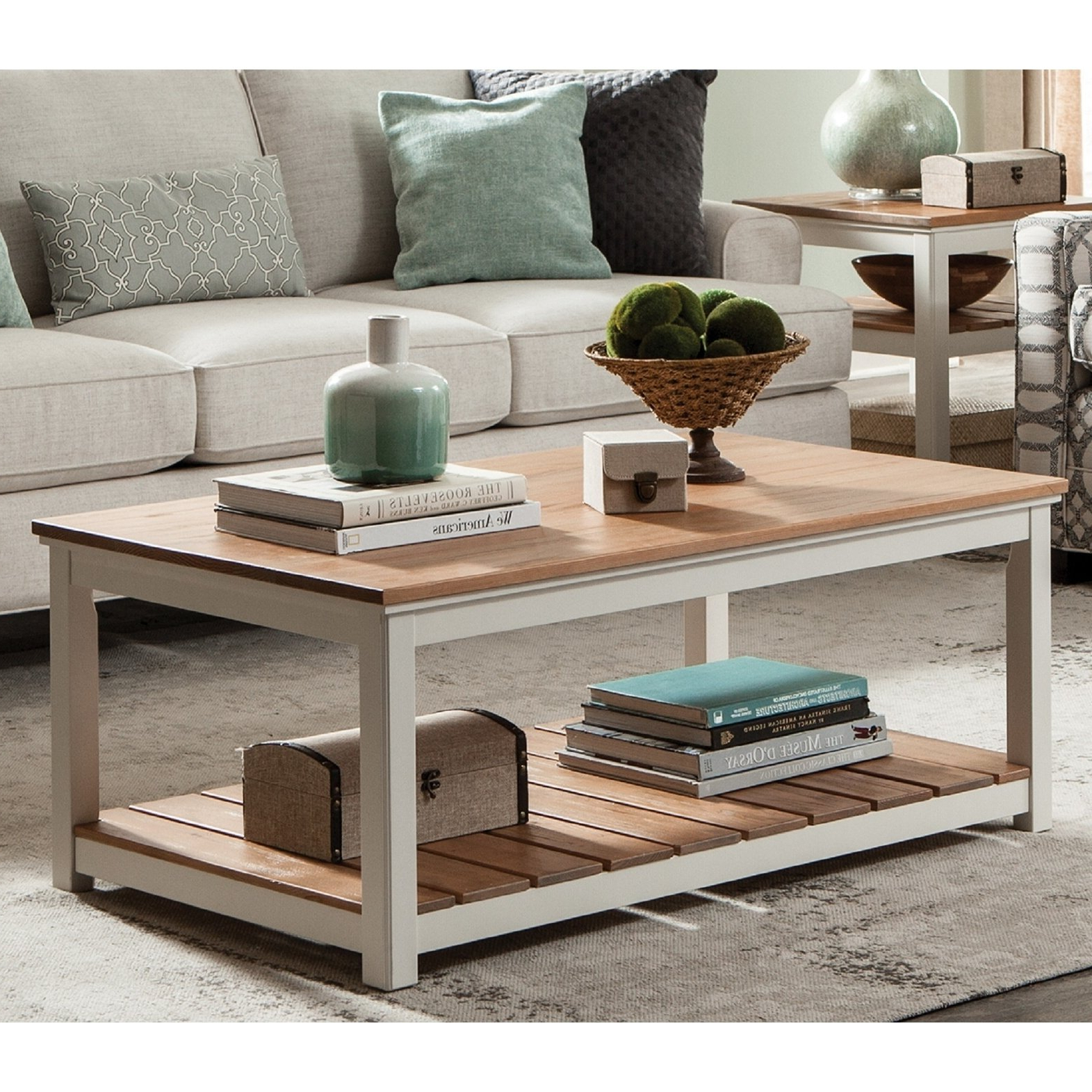 """Latest Shop Savannah 45""""w Coffee Table, Ivory With Natural Wood Top – On With Regard To Element Ivory Rectangular Coffee Tables (View 9 of 20)"""
