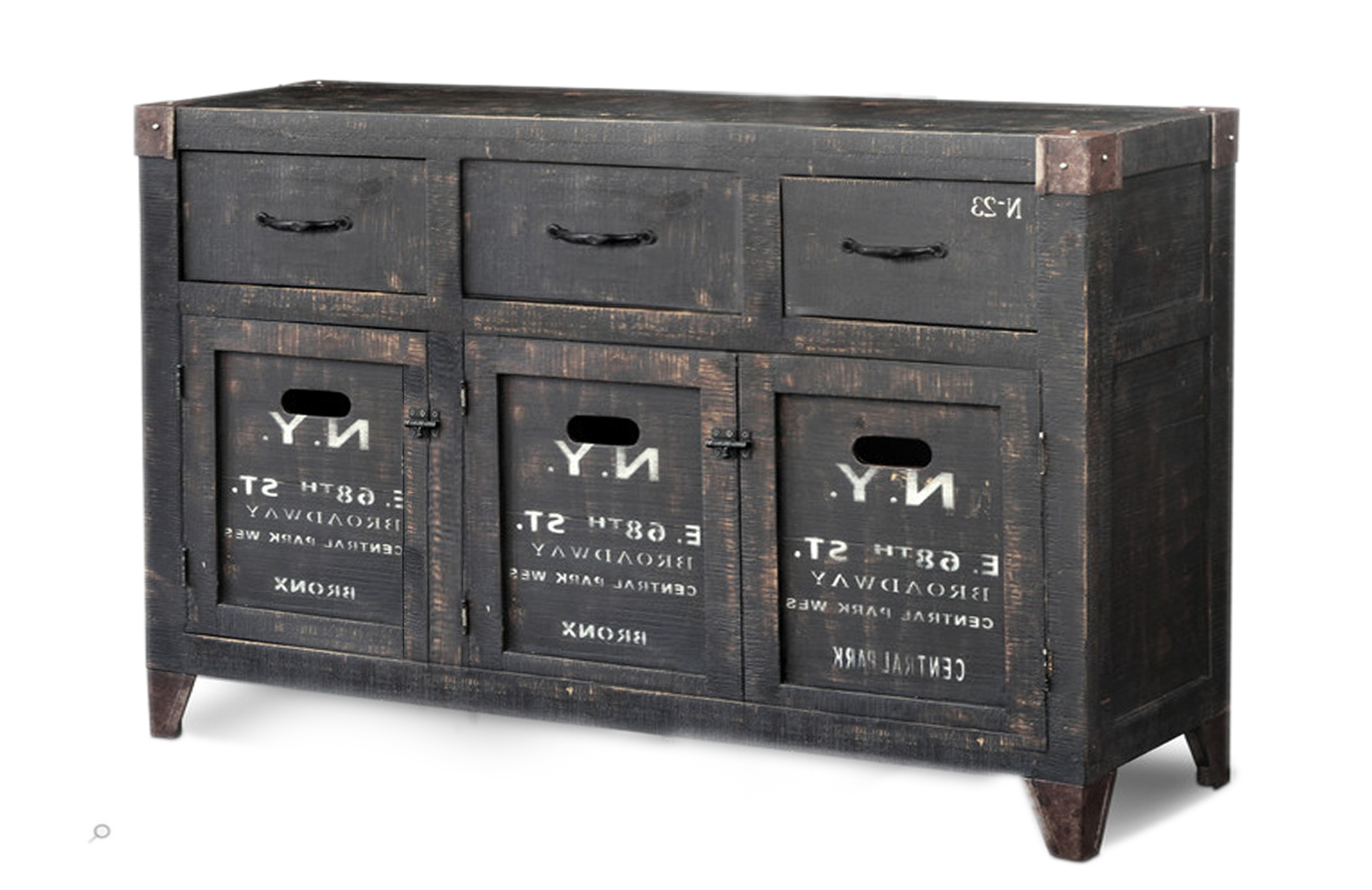 Latest Sideboard :: Rough Mango Black Industrial Furniture :: Indus Trade Inside Reclaimed 3 Drawer Icebox Sideboards (View 9 of 20)