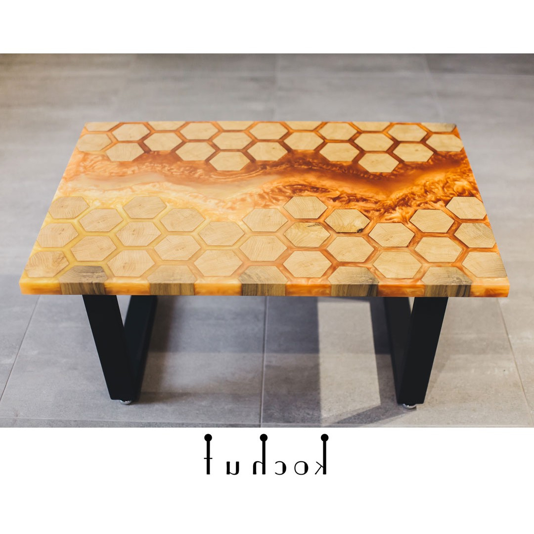 Latest Waxed Metal Coffee Tables Pertaining To Coffee Table «Honeycomb». Oak, Amber Epoxy, Wax, Natural Oil, Metal Legs (Gallery 12 of 20)