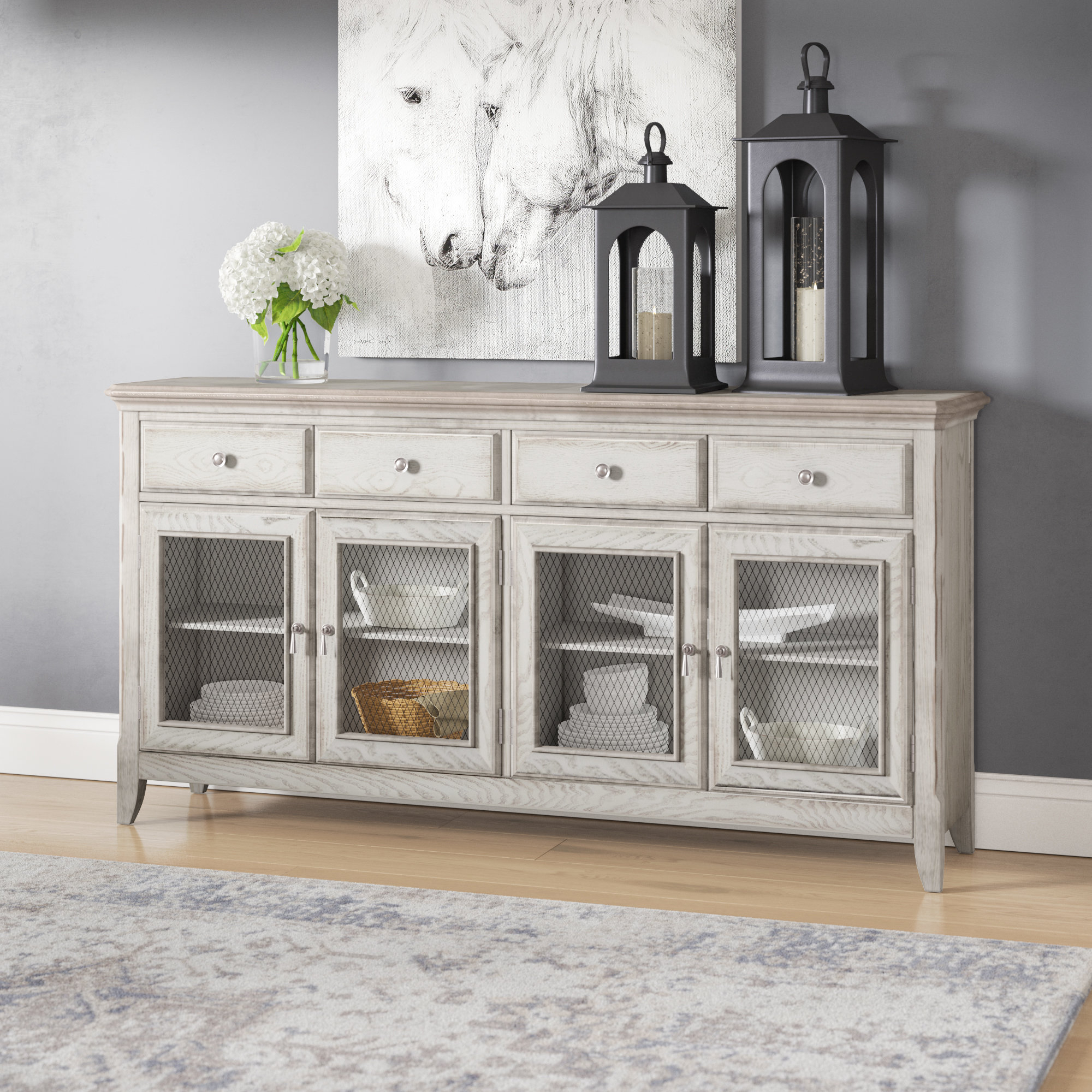 Laurel Foundry Modern Farmhouse Guerrera 4 Door Credenza With Wire Regarding Most Up To Date 4 Door 4 Drawer Metal Inserts Sideboards (View 5 of 20)