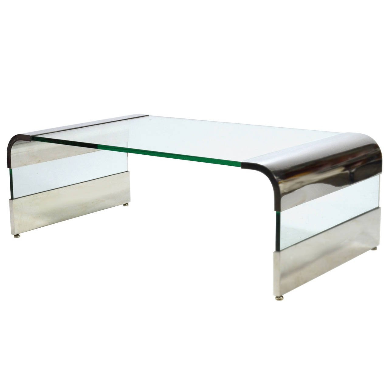 Leon Rosen Chrome And Glass Waterfall Coffee Tablepace For Sale Intended For Widely Used Waterfall Coffee Tables (Gallery 4 of 20)