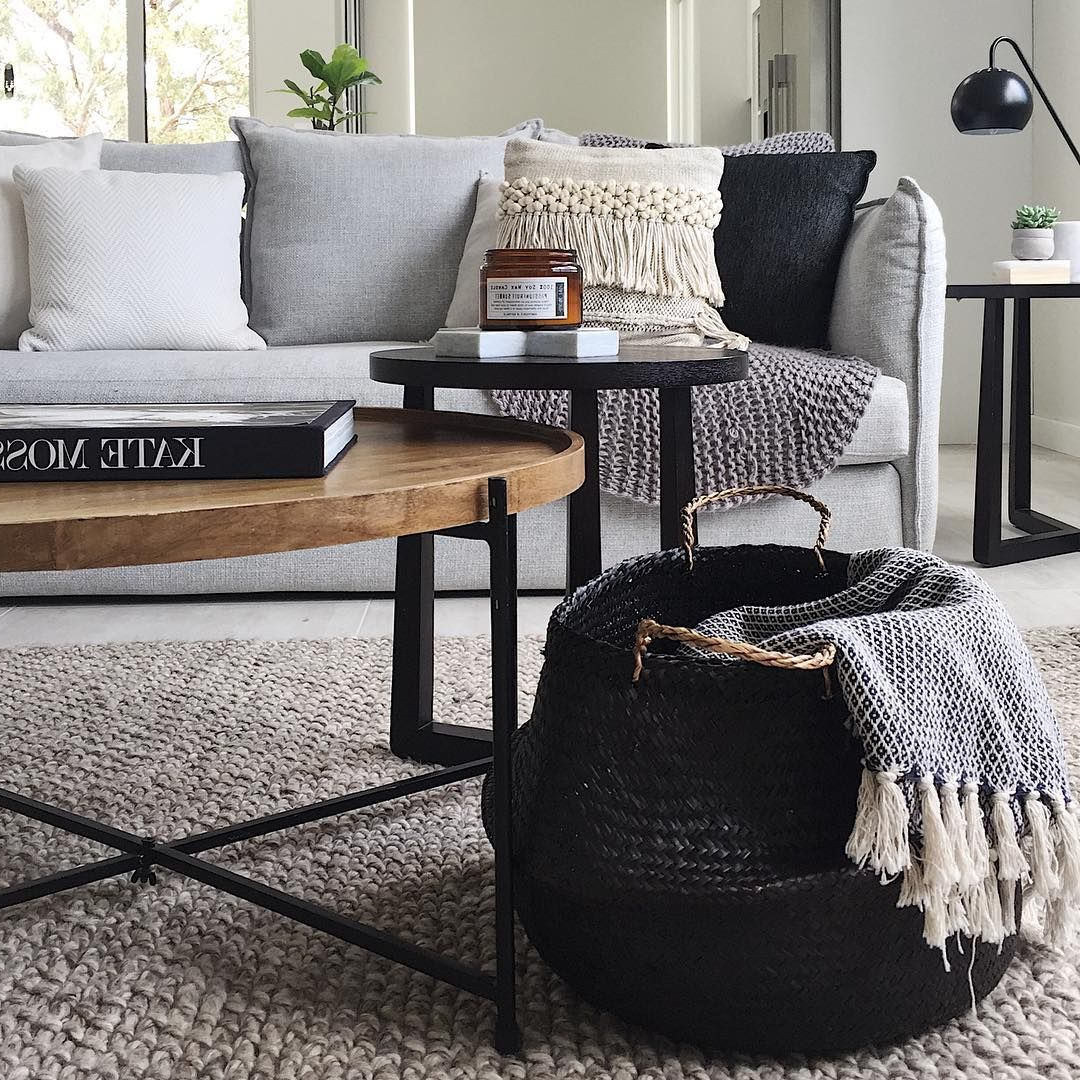 Light Natural Coffee Tables Inside Latest Jute Natural Rug + Light Grey Couch + Wood Coffee Table (View 17 of 20)