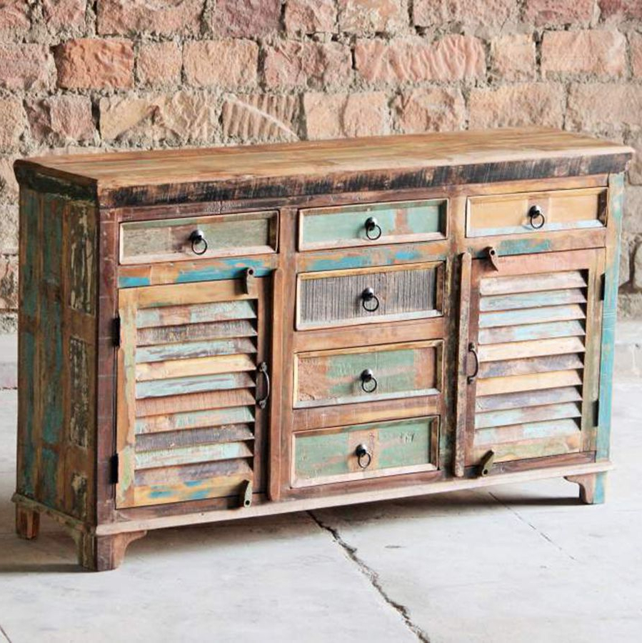 Little Tree Mary Rose Upcycled 6 Door Sideboard For Trendy Corrugated Natural 6 Door Sideboards (View 1 of 20)