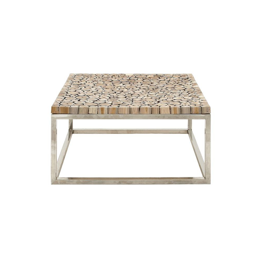 Litton Lane Natural Brown Teak Wood Coffee Table 90901 – The Home Depot Regarding Favorite Live Edge Teak Coffee Tables (Gallery 5 of 20)