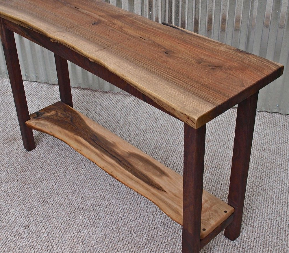 Live Edge English Walnut Sofa Table With Black Walnut Base For Latest Moraga Live Edge 8 Door Sideboards (Gallery 15 of 20)