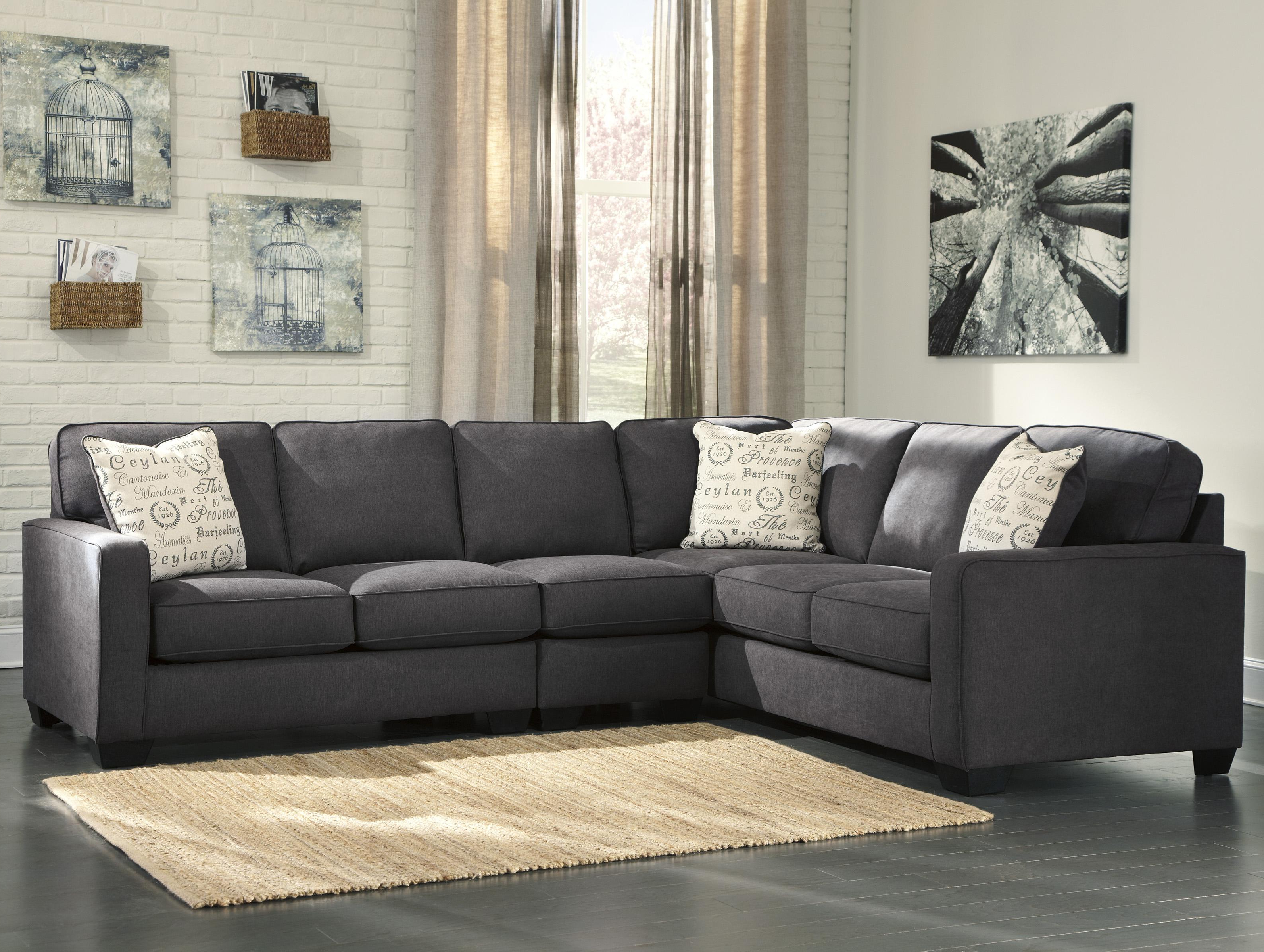 Living Room: Elegant Ashley Leather Sectional Sofa For Comfortable Inside Well Liked Lucy Dark Grey 2 Piece Sleeper Sectionals With Laf Chaise (View 4 of 20)
