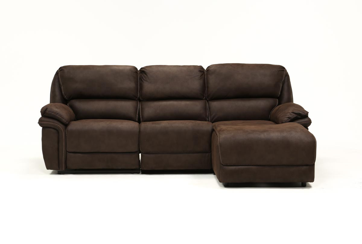Living Spaces For Latest Norfolk Chocolate 3 Piece Sectionals With Raf Chaise (View 11 of 20)