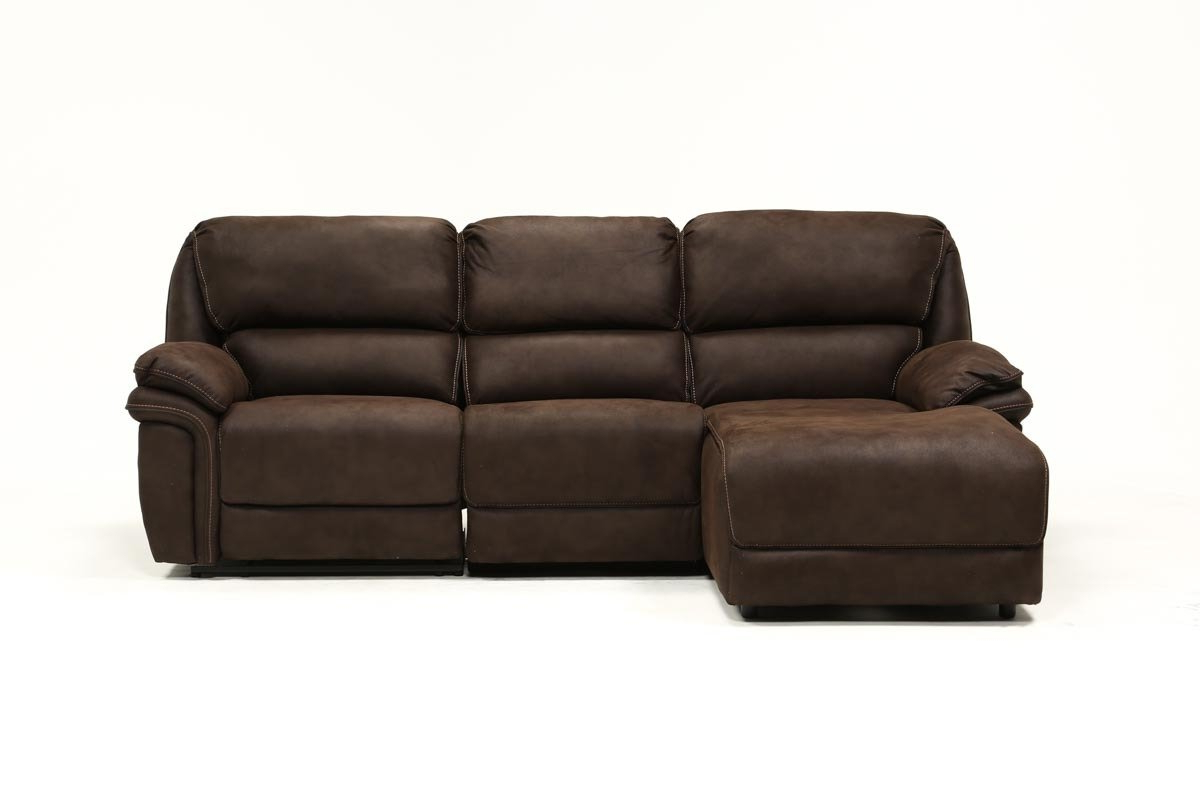 Living Spaces In Norfolk Chocolate 3 Piece Sectionals With Laf Chaise (Gallery 1 of 20)