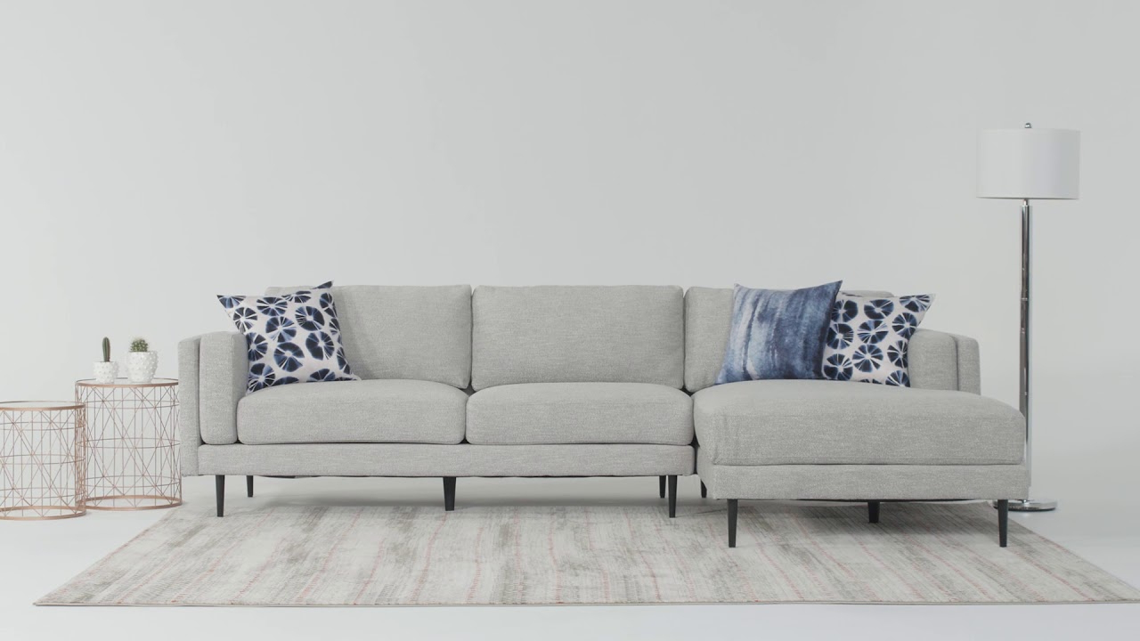 Living Spaces – Youtube Pertaining To 2018 Aquarius Dark Grey 2 Piece Sectionals With Raf Chaise (View 12 of 20)