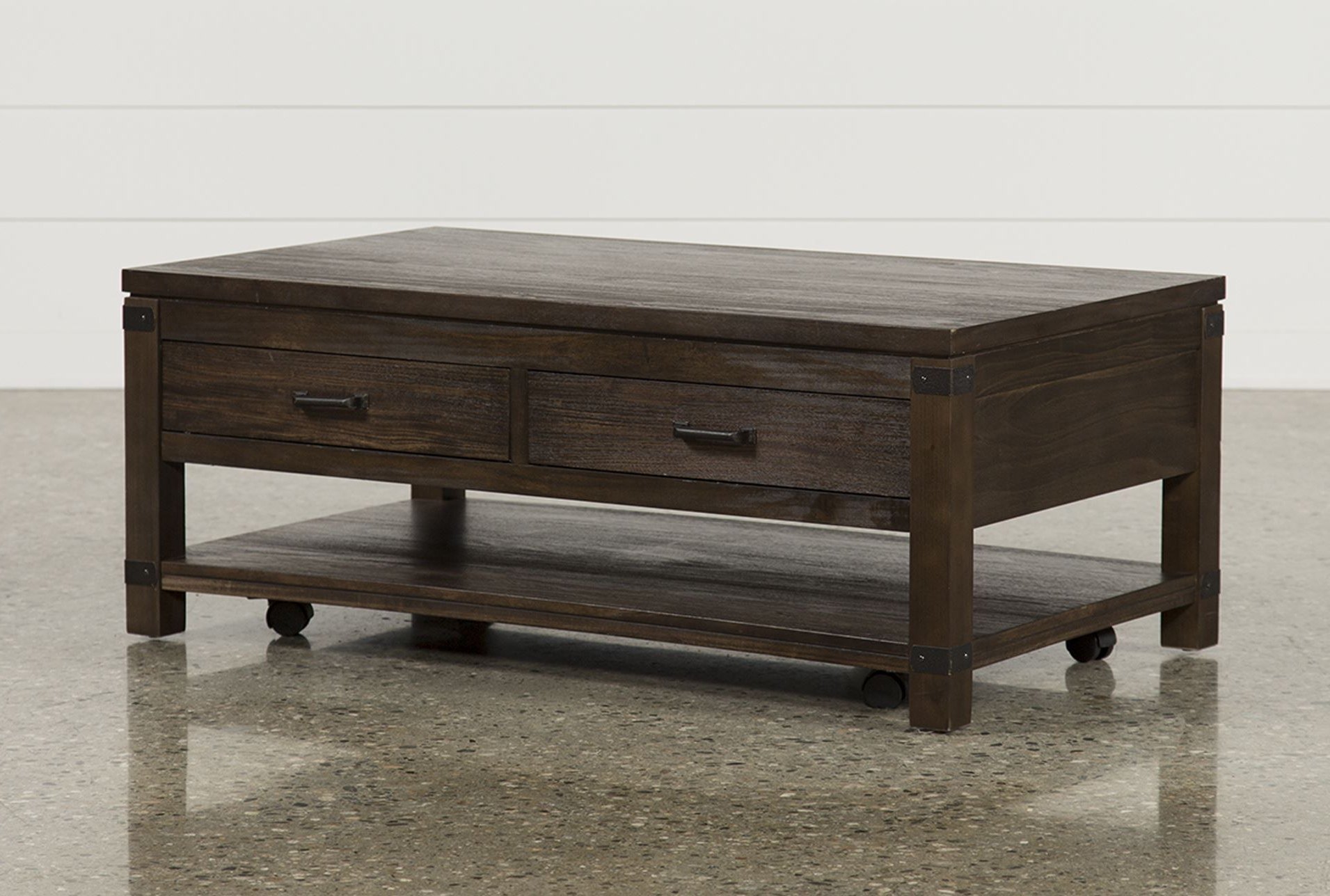 Livingston Cocktail Table W/drawers, Brown, Coffee Tables With Well Known Kelvin Lift Top Cocktail Tables (Gallery 10 of 20)