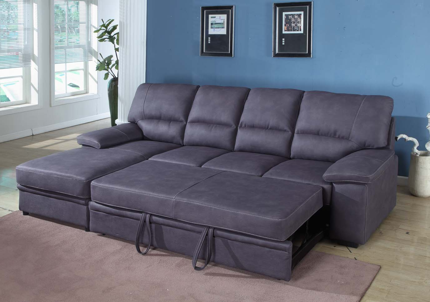Lucy Dark Grey 2 Piece Sectionals With Raf Chaise With Preferred Seating Furniture – Sleeper Sectional Sofa – Pickndecor (Gallery 11 of 20)