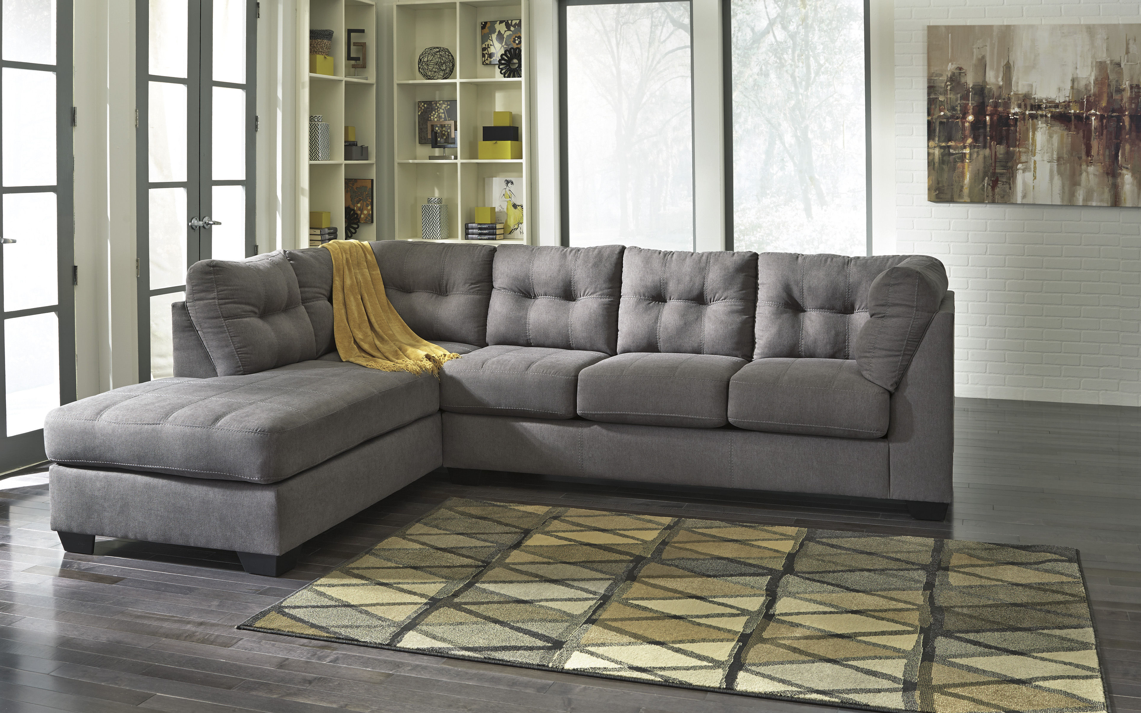 Lucy Dark Grey 2 Piece Sleeper Sectionals With Laf Chaise In Most Popular Ashley Furniture Maier Charcoal Raf Chaise Sectional (View 5 of 20)