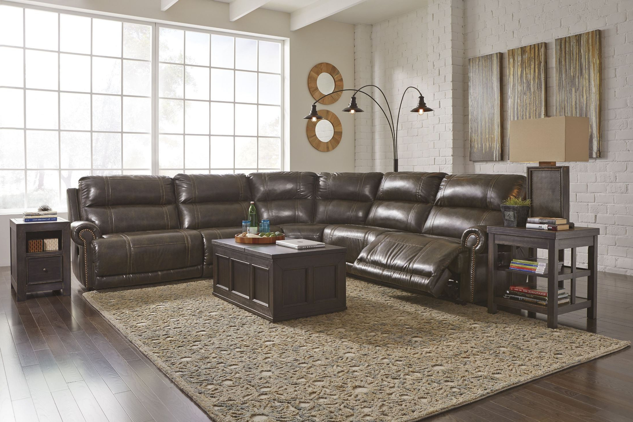 Lucy Grey 2 Piece Sectionals With Raf Chaise Intended For Favorite Signature Designashley Dak Durablend Antique Reclining Sectional (View 8 of 20)
