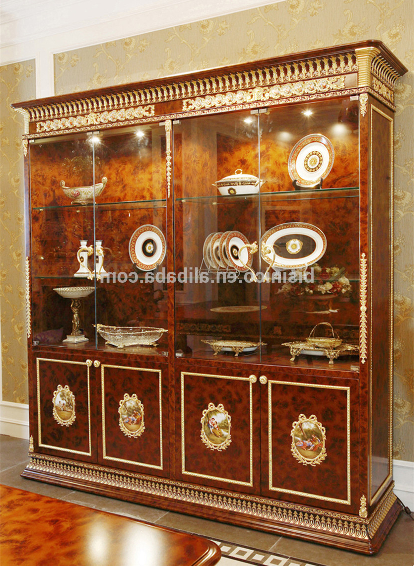 Luxury French Baroque Style Dining Room Glass Sideboard & Hutch/ 4 Within Most Popular Carved 4 Door Metal Frame Sideboards (View 14 of 20)