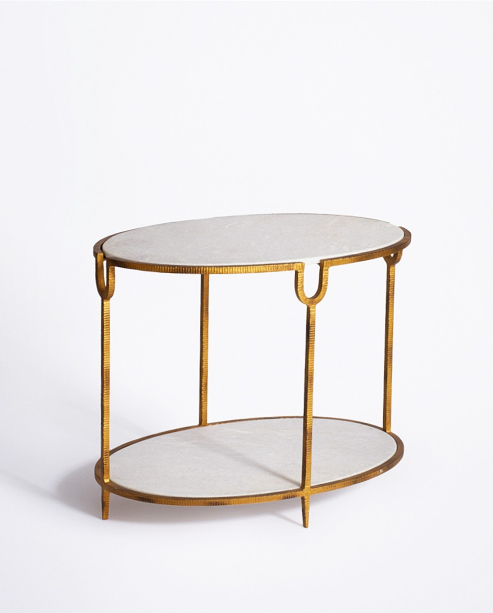 Luxury Gold Iron & Marble Stone Side Table Throughout Most Recently Released Iron Marble Coffee Tables (View 13 of 20)