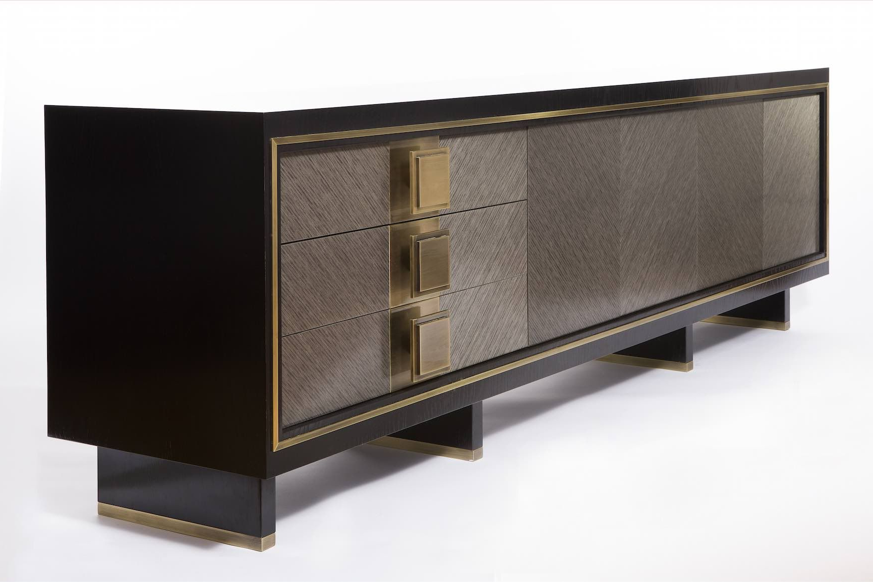 Luxury Sideboard. Grey And Dark Sideboard. Golden Details (View 11 of 20)