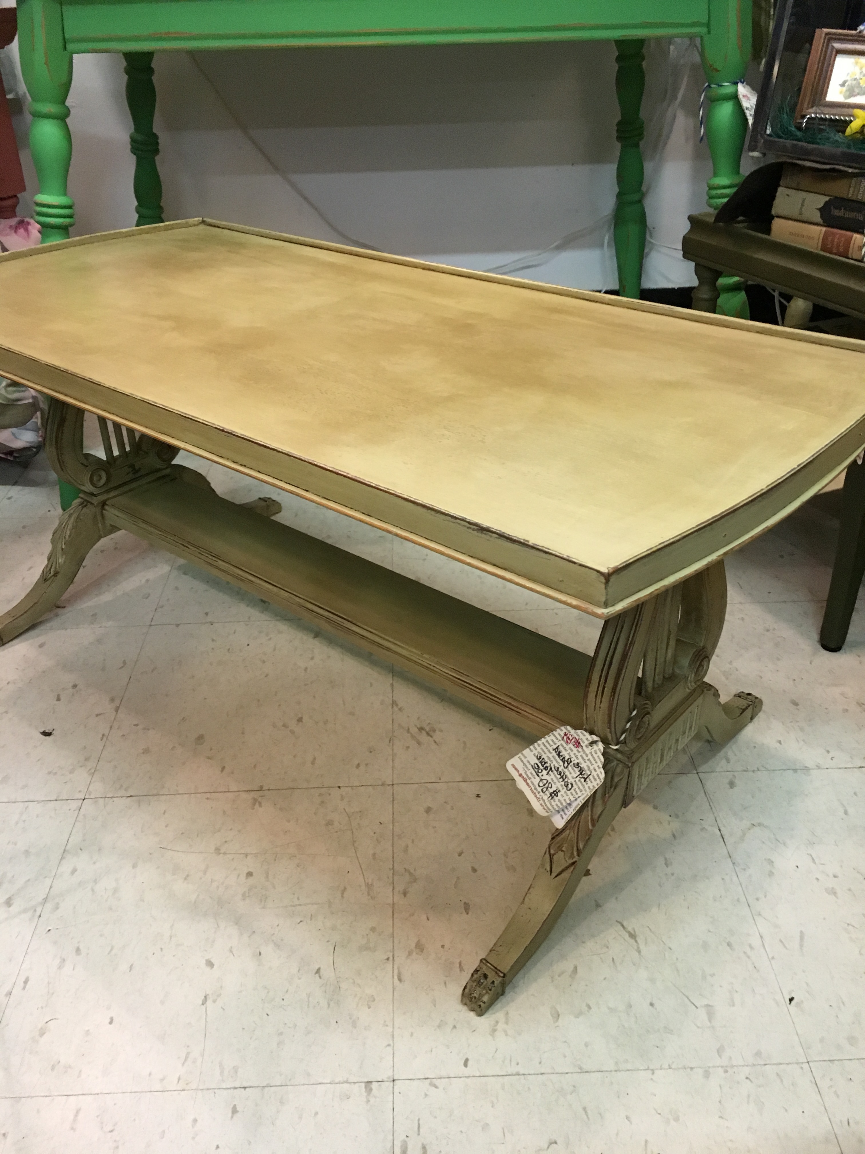 Lyre Coffee Tables Intended For Most Popular Lyre Based Coffee Table $80 Sold – The Turned Leg (View 9 of 20)