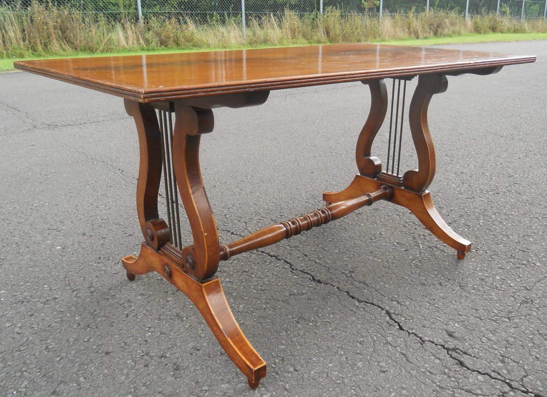 Lyre End Mahogany Rectangular Coffee Table With Favorite Lyre Coffee Tables (View 7 of 20)