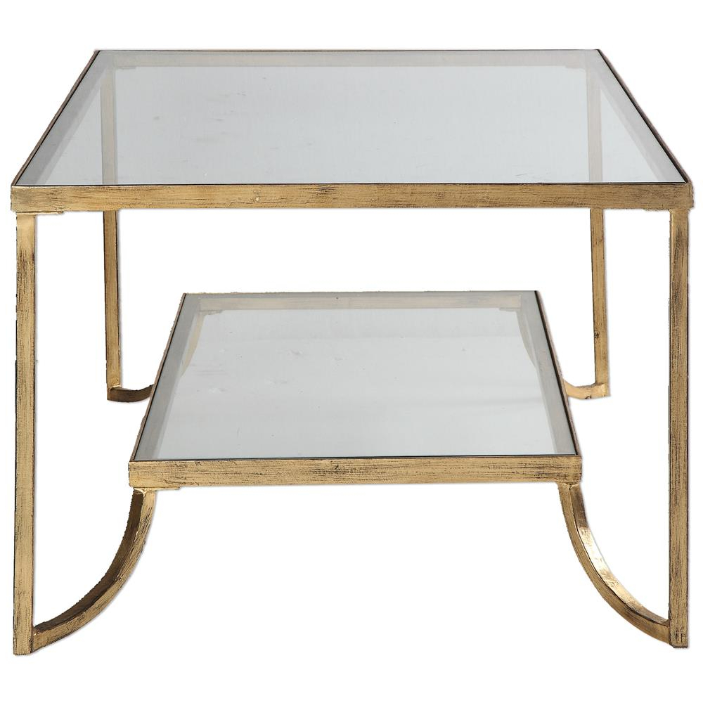 Madox Modern Classic Antique Gold Leaf Glass Coffee Table (View 10 of 20)