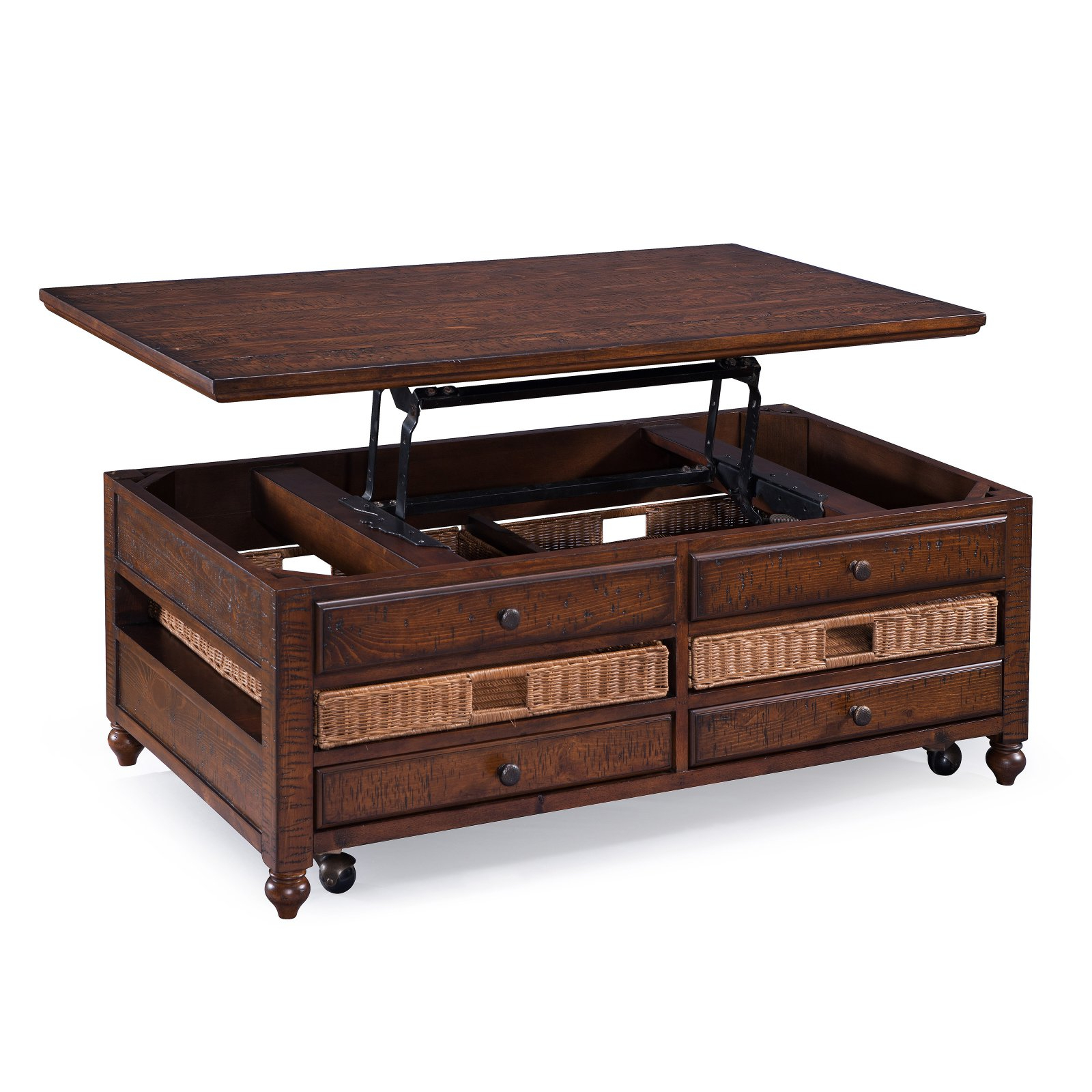 Magnussen Cottage Lane Rectangular Cocktail Table – Walmart In Current Ontario Cocktail Tables With Casters (View 8 of 20)