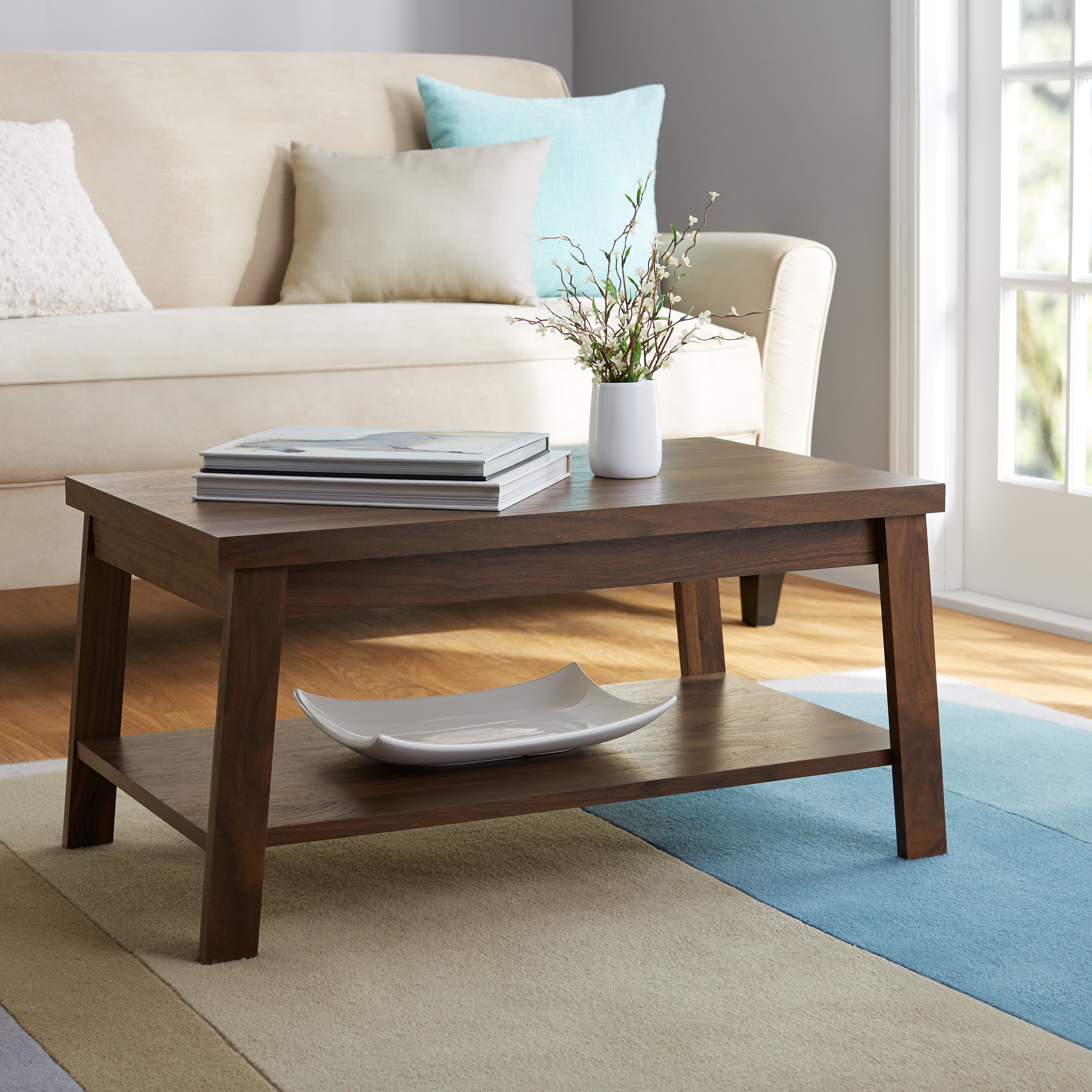 Mainstays Logan Coffee Table, Multiple Finishes – Walmart Regarding Most Recently Released Logan Cocktail Tables (View 2 of 20)