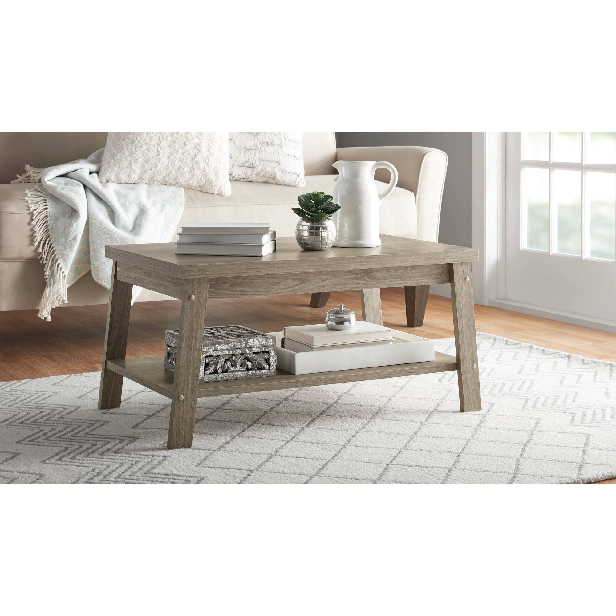 Mainstays Logan Coffee Table, Multiple Finishes – Walmart With Regard To Best And Newest Logan Cocktail Tables (View 10 of 20)