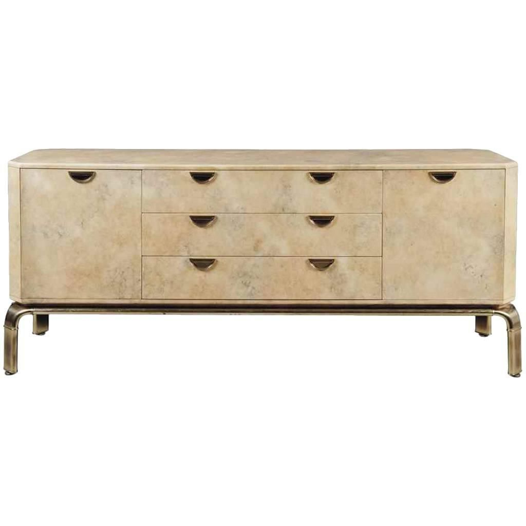 Mandara 3 Drawer 2 Door Sideboards Pertaining To Best And Newest Mid 20Th Century Velum And Brass Waterfall Sideboard John Widdicomb (View 7 of 20)