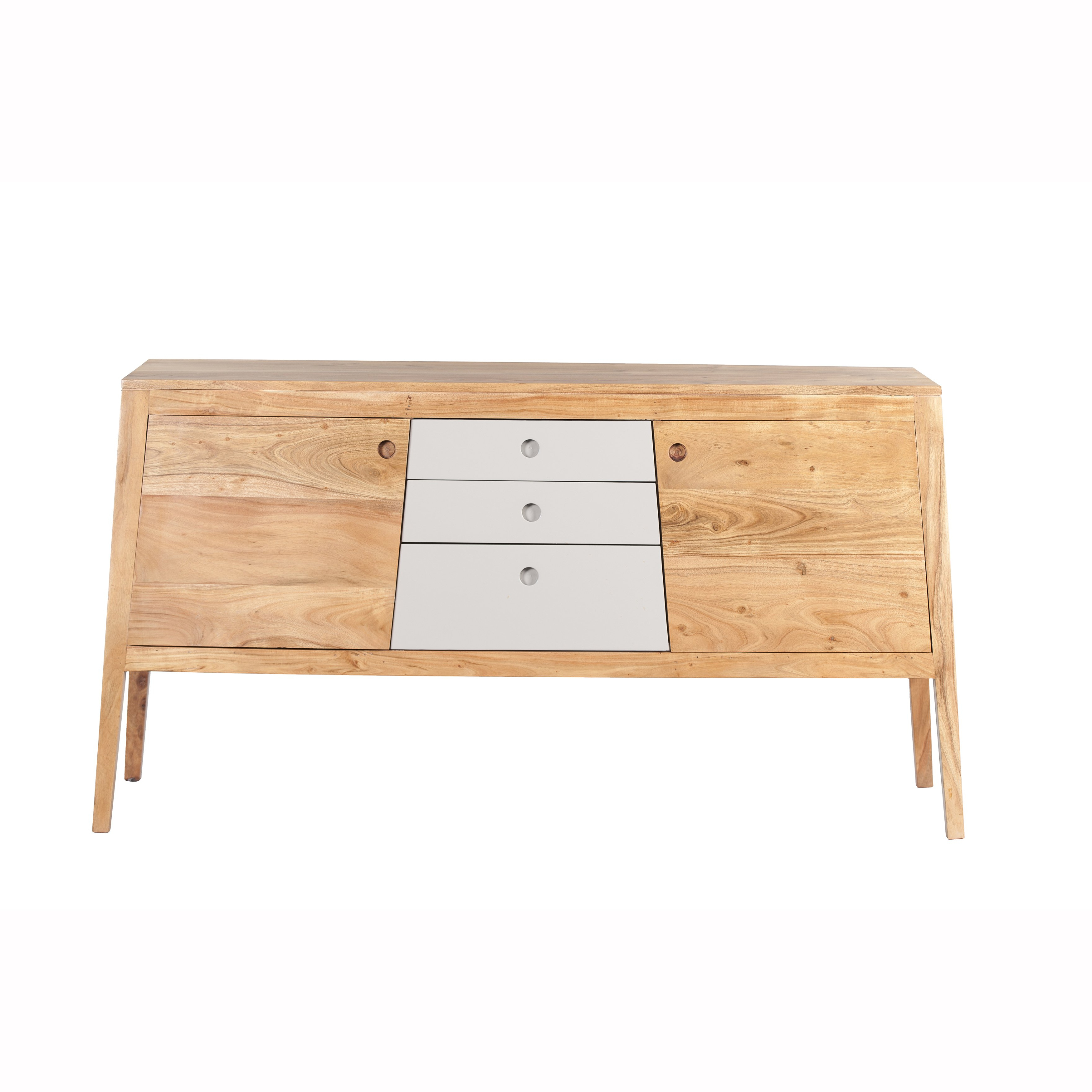 Mandara Handcrafted Solid Acacia Wood Modern Console – 55X16X30 In Newest Mandara 3 Drawer 2 Door Sideboards (View 10 of 20)
