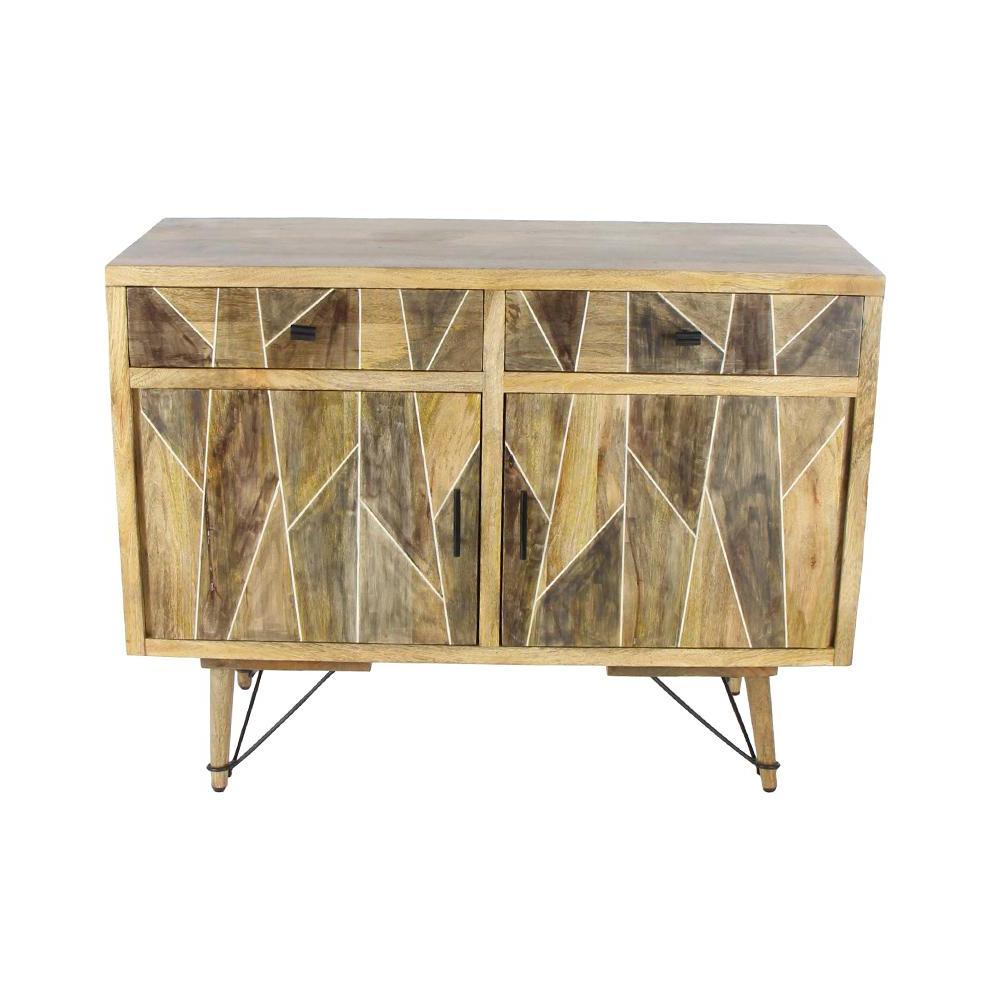 Mango Wood 2 Door/2 Drawer Sideboards Regarding Famous Litton Lane 2 Drawer Geometric Wooden Brown Cabinet 77681 – The Home (View 12 of 20)