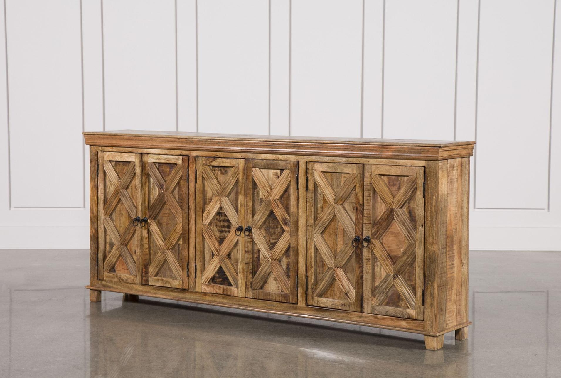 Mango Wood Tan Finish 6 Door Sideboard (View 8 of 20)