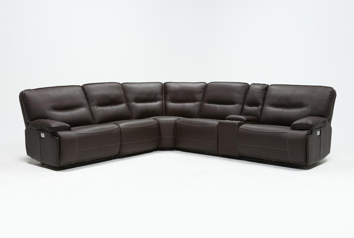 Marcus Chocolate 6 Piece Sectional W/power Headrest And Usb (View 4 of 20)