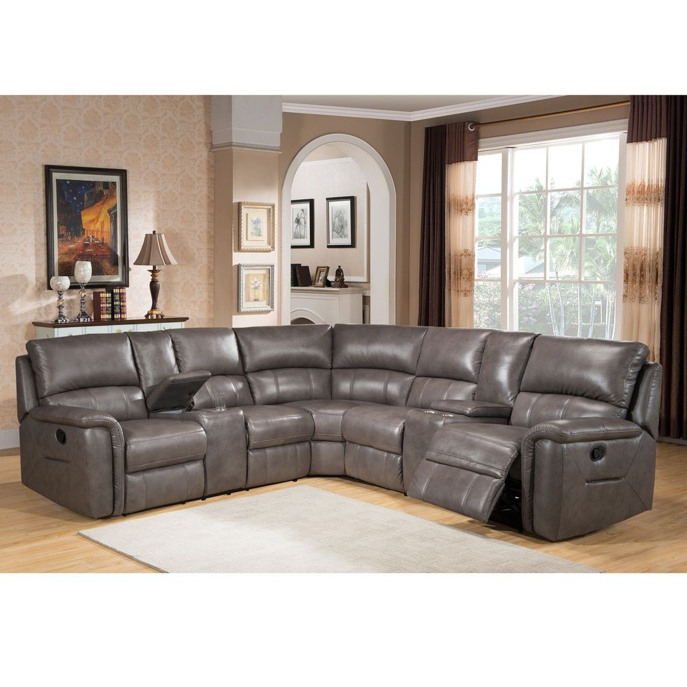 Marcus Grey 6 Piece Sectionals With  Power Headrest & Usb Intended For Latest Cortez Premium Top Grain Gray Leather Reclining Sectional Sofa (View 13 of 20)