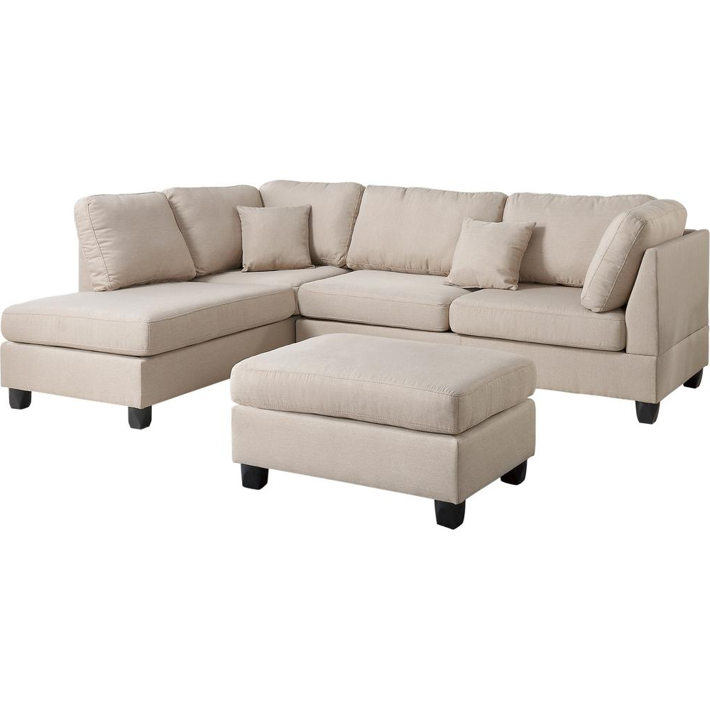 Marissa Ii 3 Piece Sectionals For Well Liked Venetian Worldwide Madrid 3 Piece Reversible Sectional Sofa In Sand (View 5 of 20)