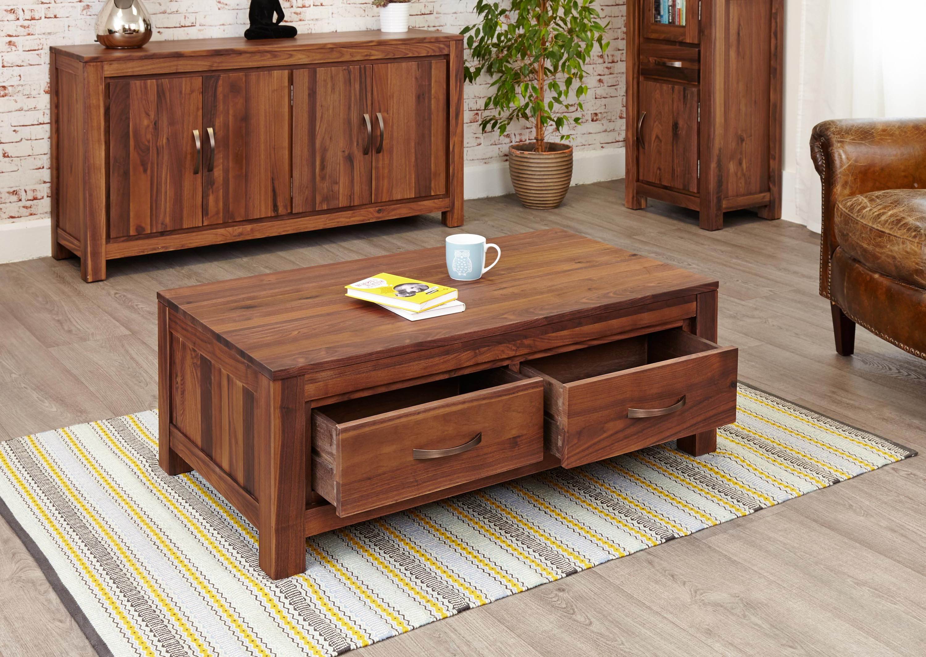 Mayan Walnut Low Four Drawer Coffee Table (Cwc08B) With Regard To 2019 Walnut 4 Drawer Coffee Tables (View 8 of 20)