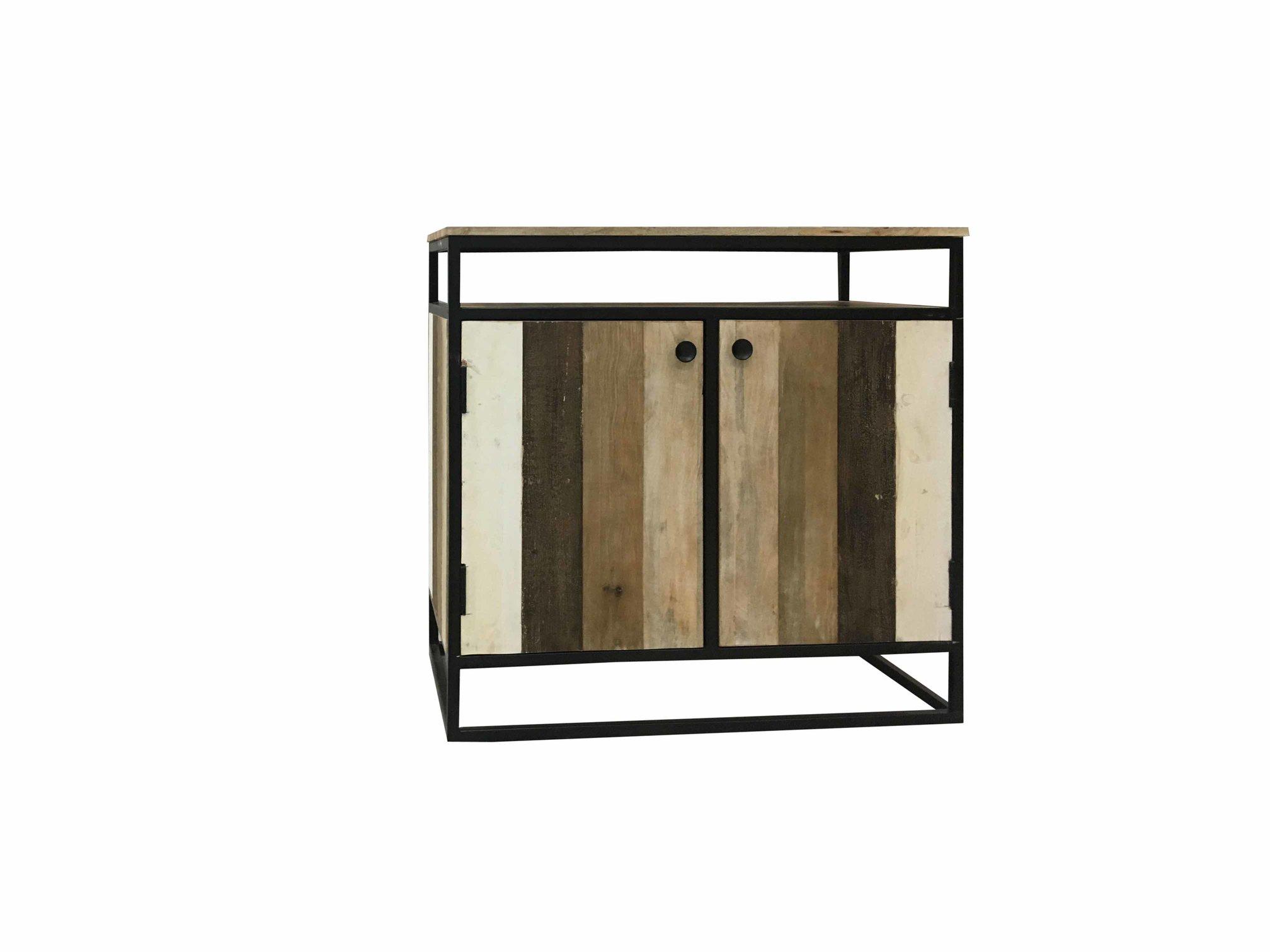 Metal Framed Reclaimed Wood Sideboards In Most Up To Date Industrial Reclaimed Mango Wood 2 Door Sideboard With Metal Frame (View 9 of 20)