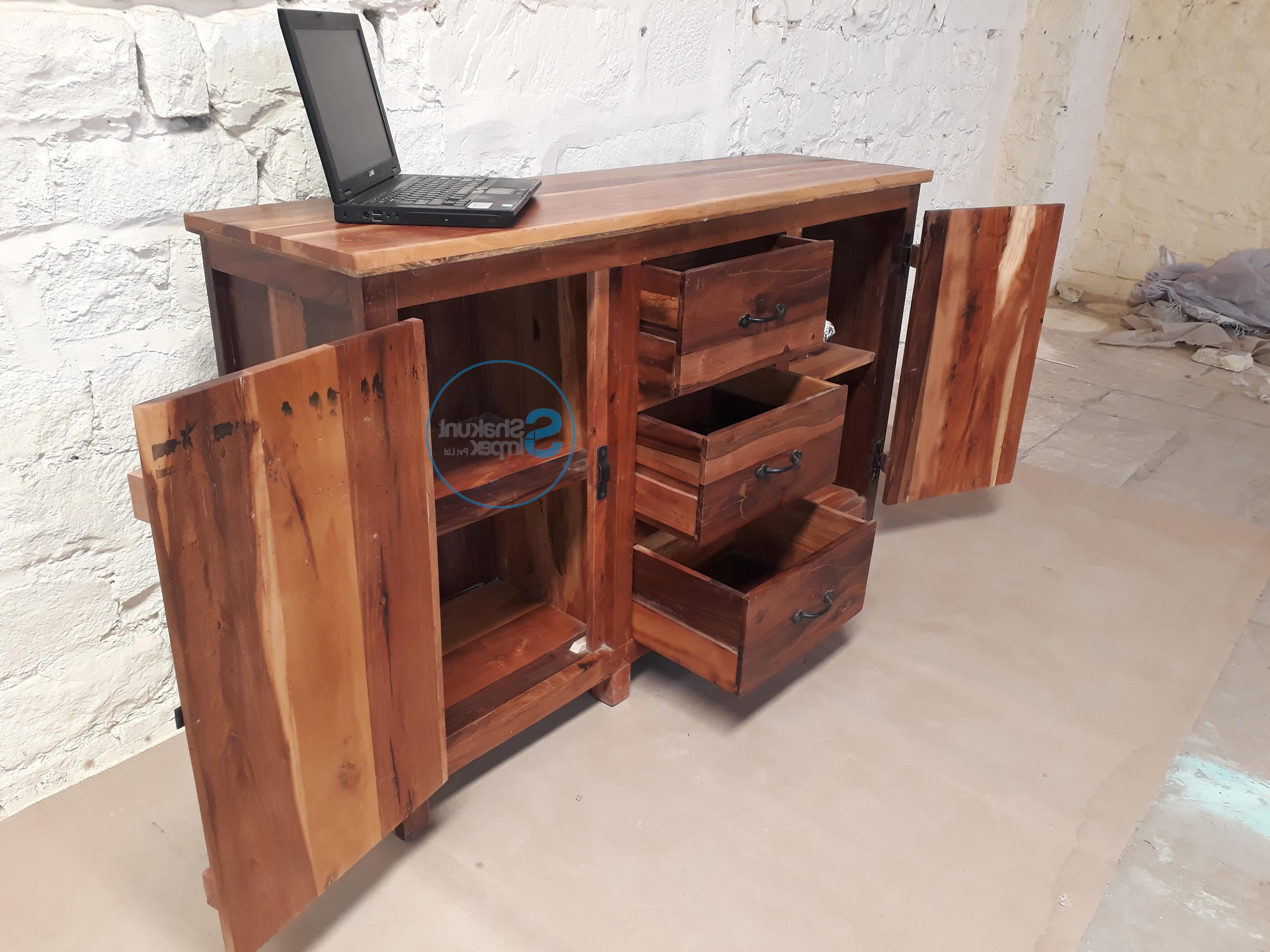 Metal Framed Reclaimed Wood Sideboards Intended For 2019 Handmade Reclaimed Wood Sideboard – Shakunt Vintage Furniture (Gallery 7 of 20)