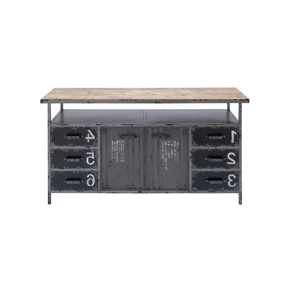 Metal Refinement 4 Door Sideboards With Regard To Fashionable Litton Lane Gray Industrial Metal And Wood Utility Buffet Cabinet (Gallery 10 of 20)